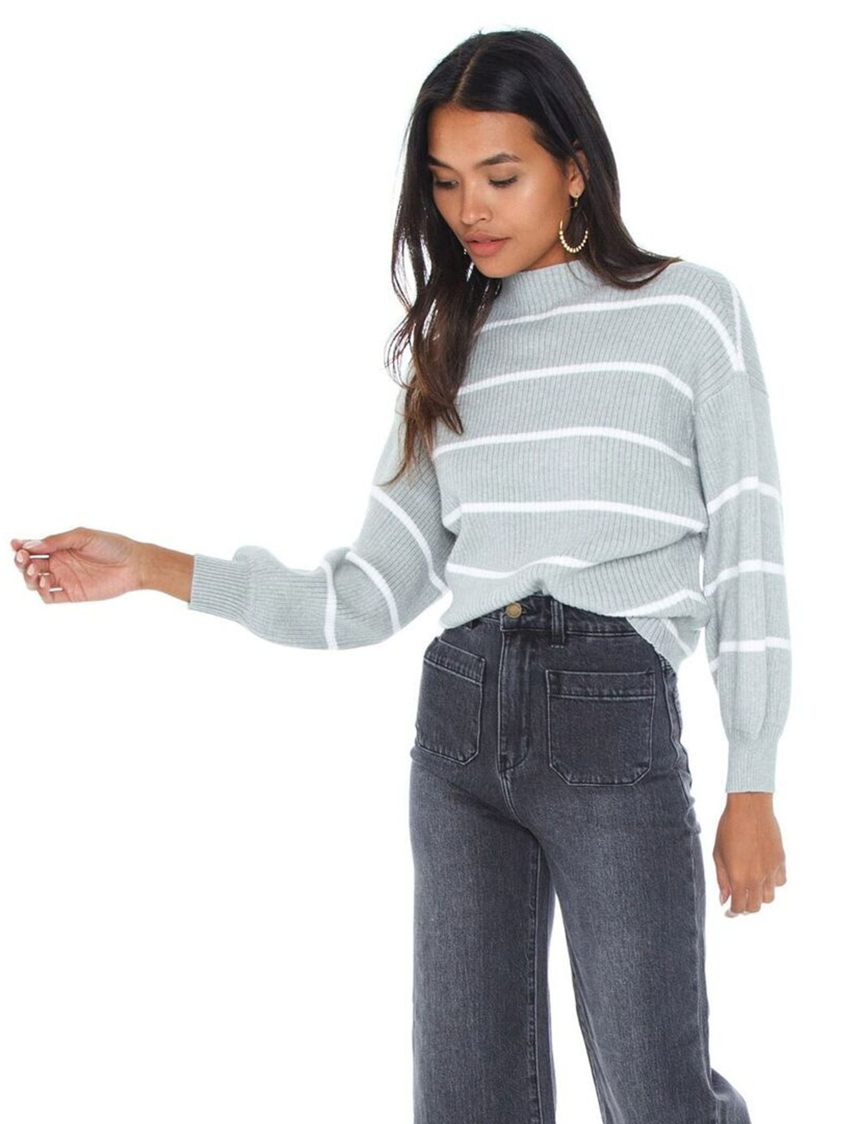 Women wearing a sweater rental from Line & Dot called Alder Stripe Sweater