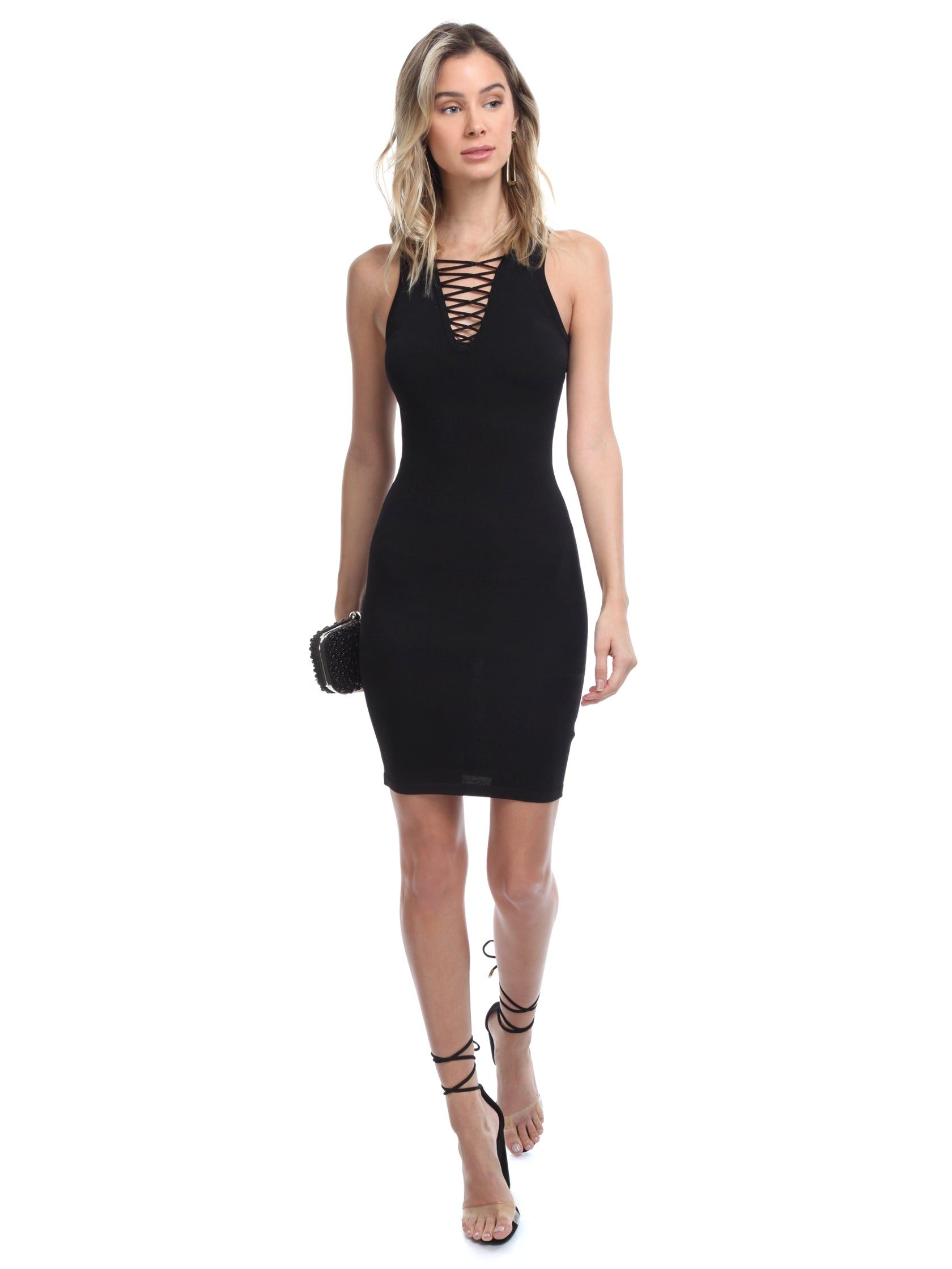Woman wearing a dress rental from Ali & Jay called Bodycon Knit Dress