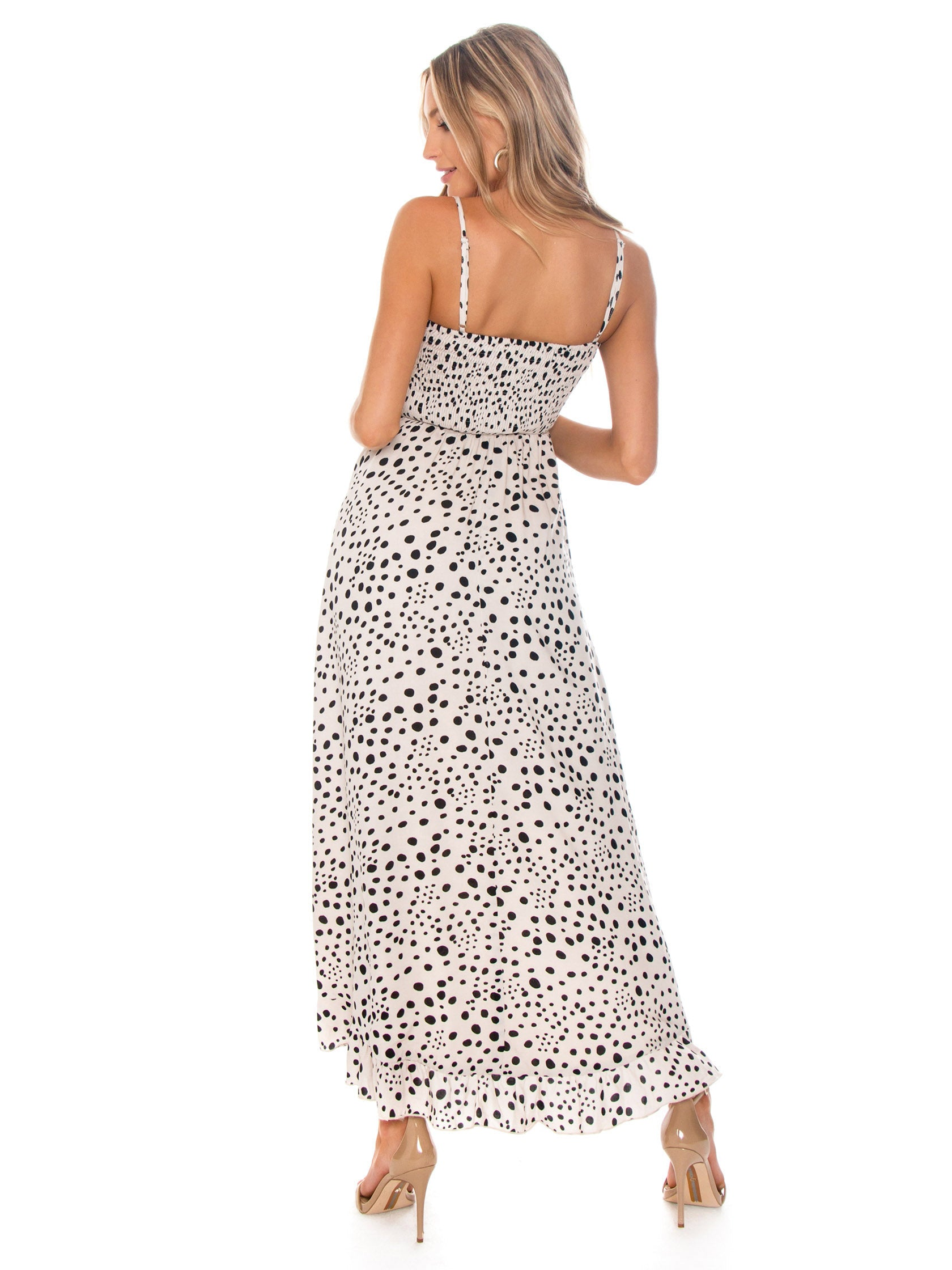 Women outfit in a dress rental from Lost In Lunar called Allira Maxi Dress