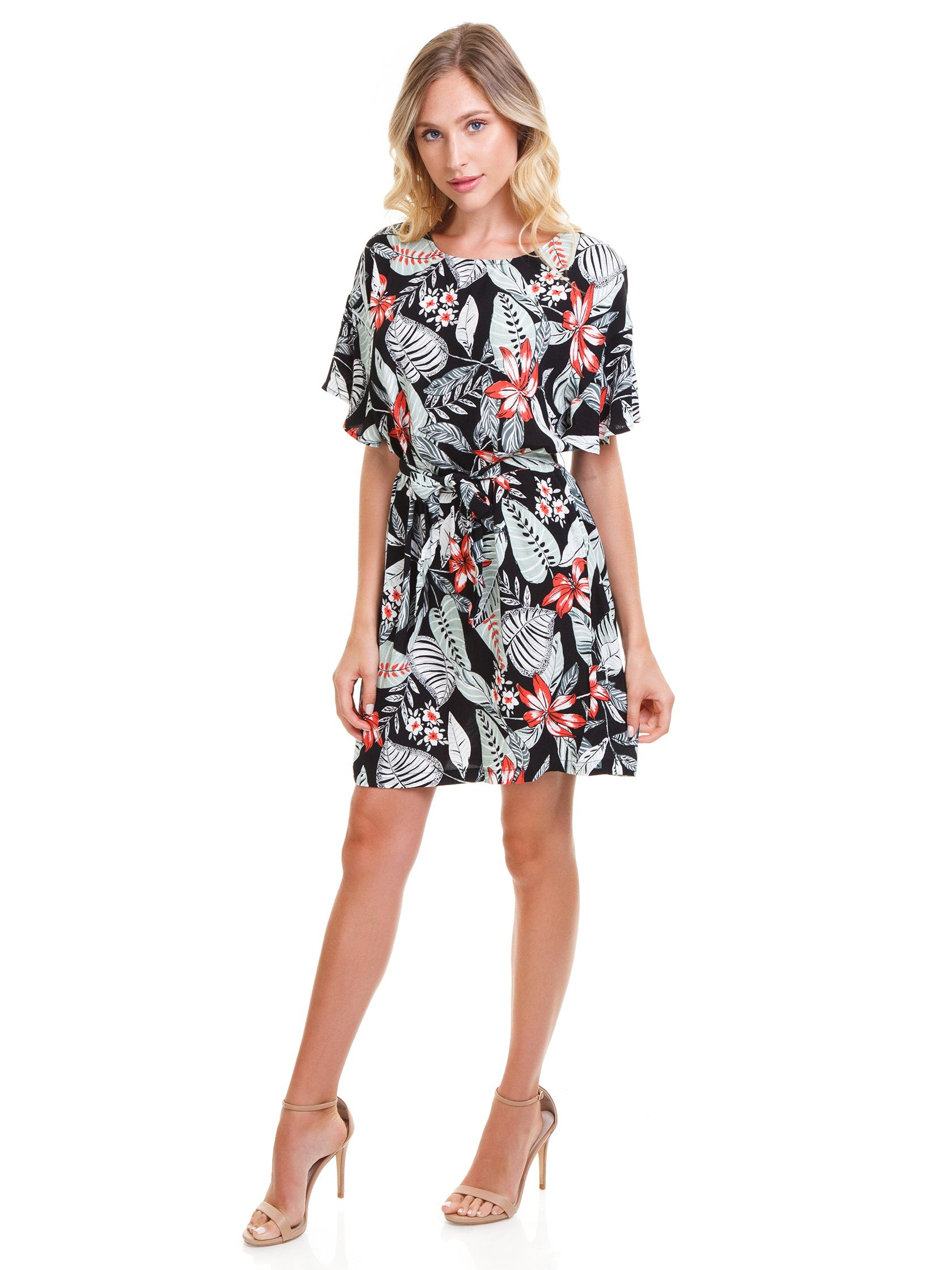Women outfit in a dress rental from MINKPINK called Aloha Cove Waist Tie Dress