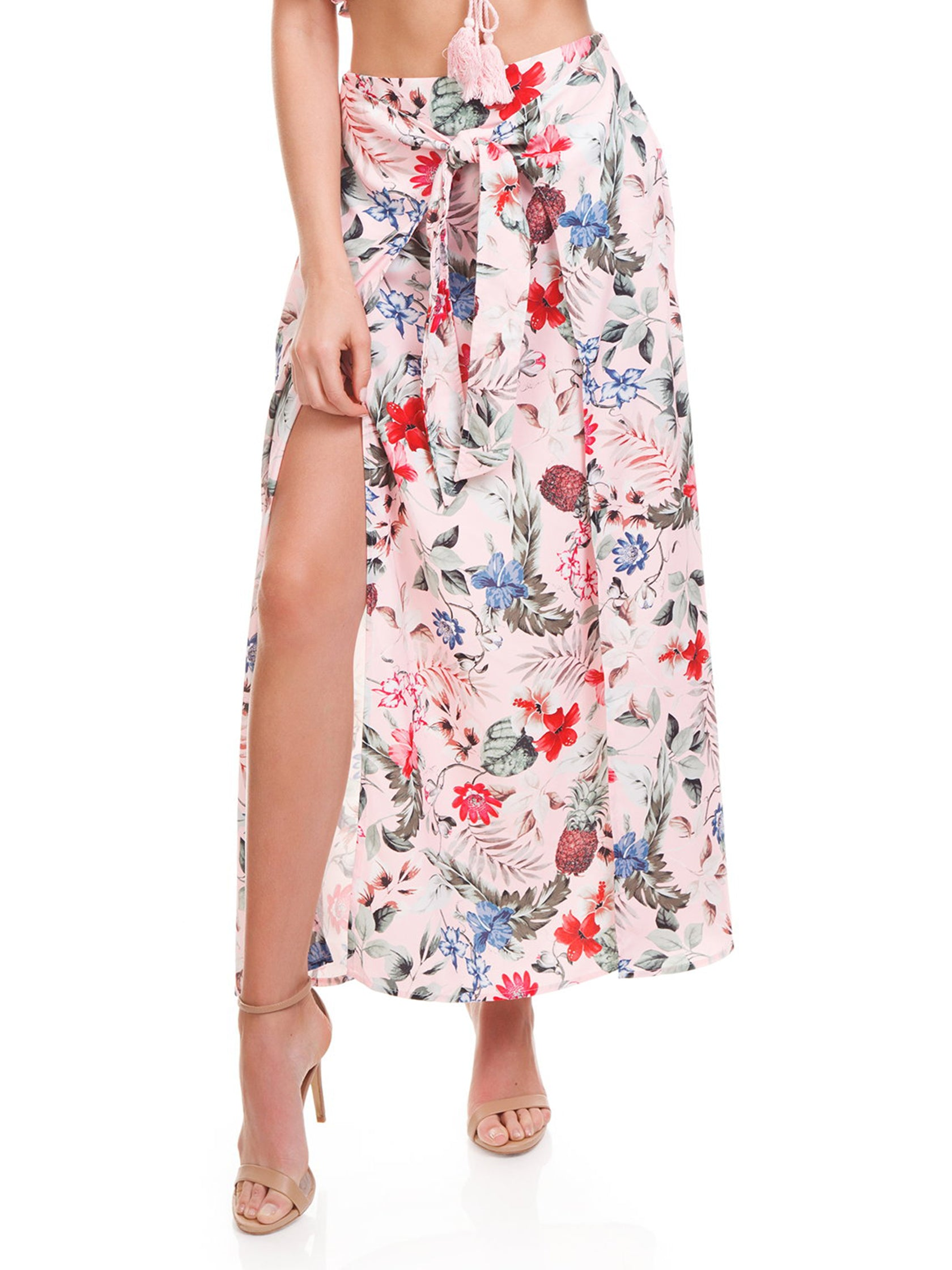 Woman wearing a skirt rental from MINKPINK called Aloha Maxi Skirt