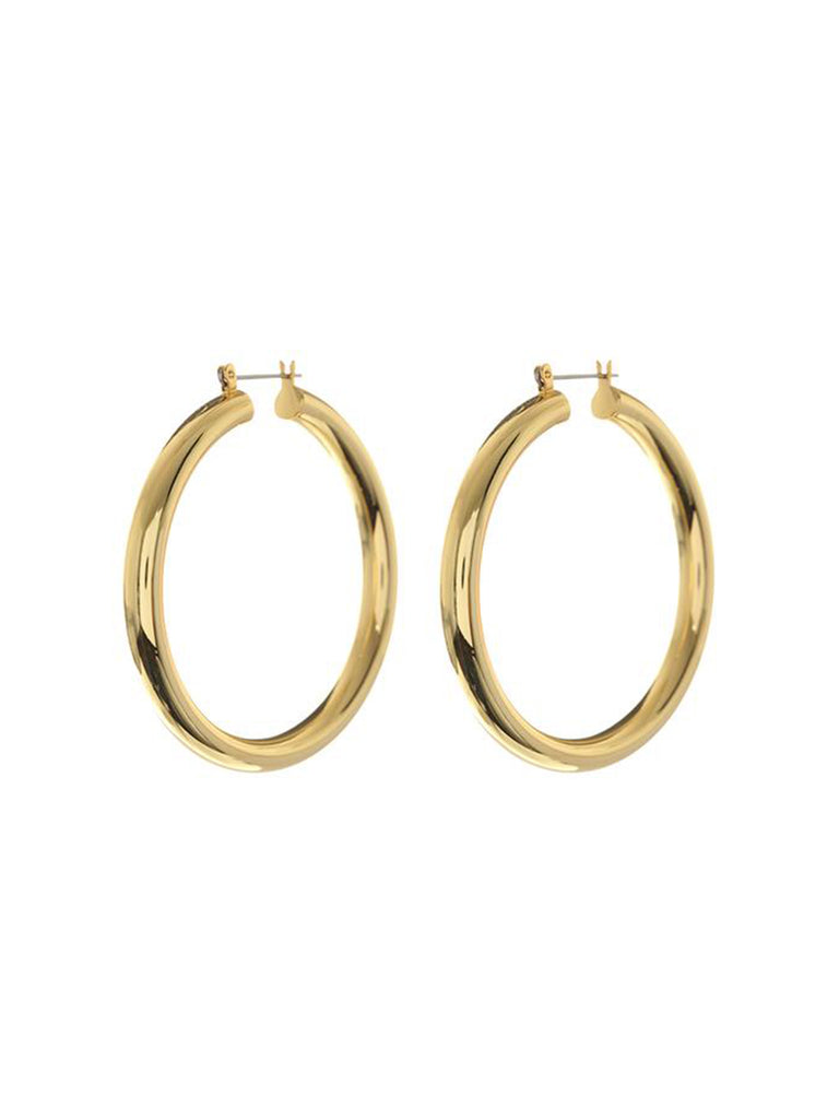 Women wearing a earrings rental from LUV AJ called Amalfi Tube Hoops