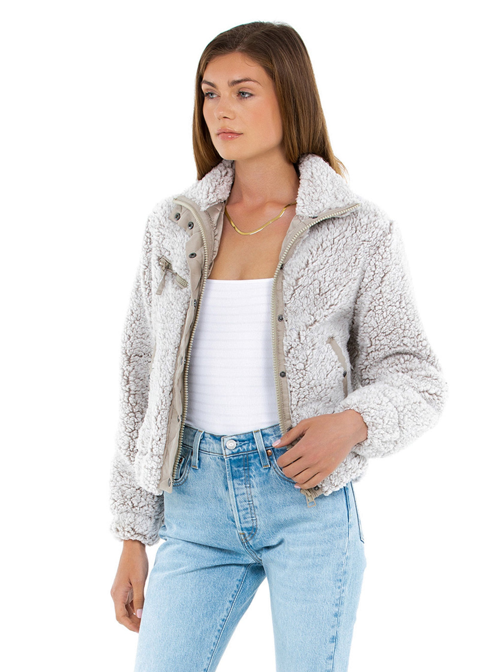 Women wearing a jacket rental from BLANKNYC called Angel Eyes Jacket
