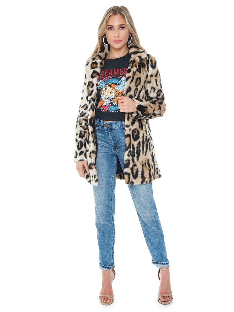 Women wearing a jacket rental from BARDOT called Animal Faux Fur Coat