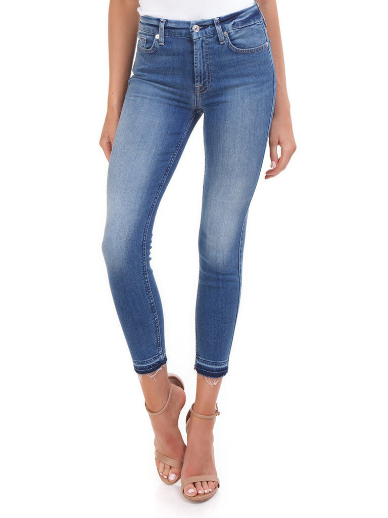 Women wearing a denim rental from 7 For All Mankind called Ankle Skinny Jeans