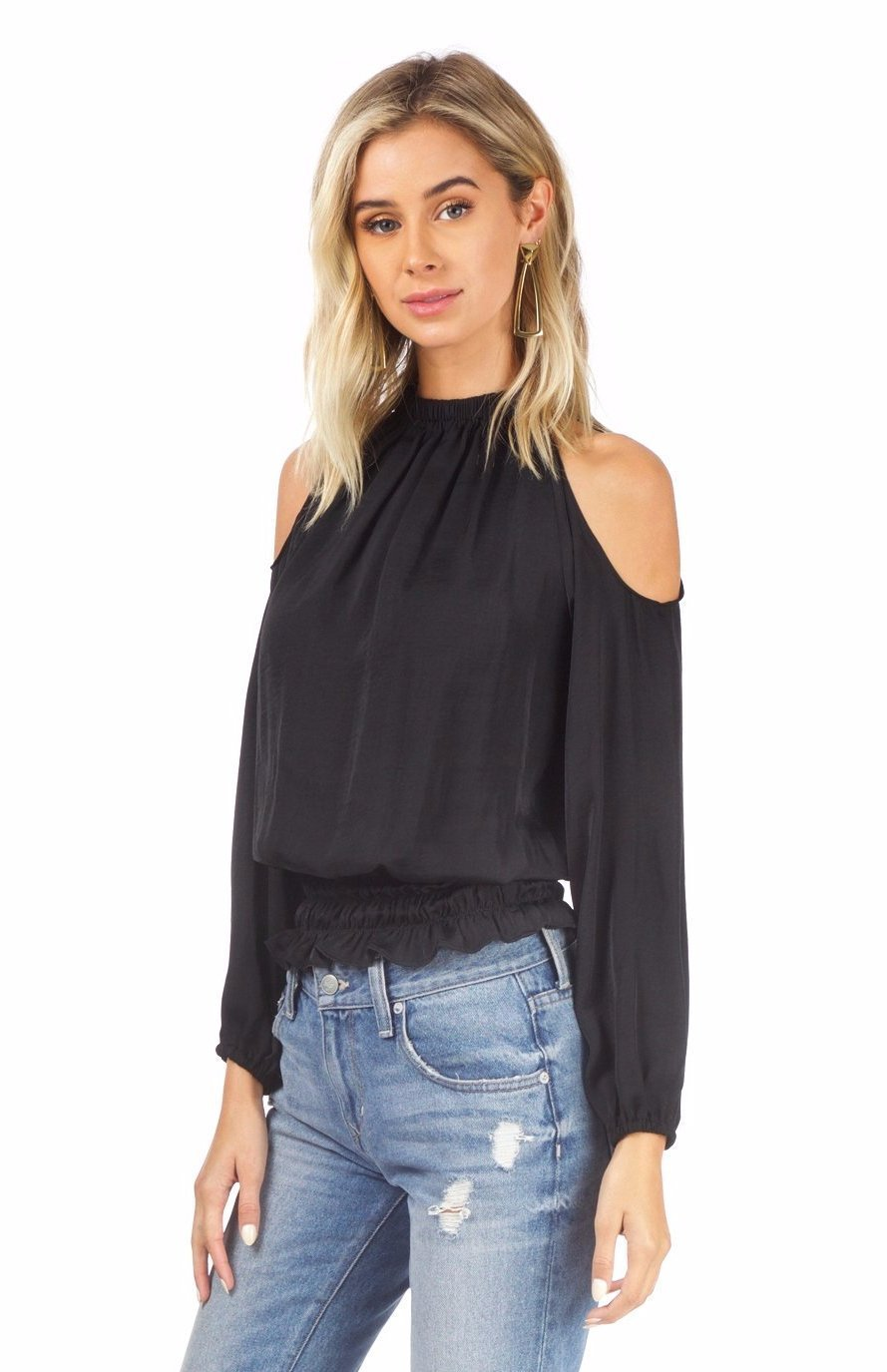 Woman wearing a top rental from AQUA called Cold Shoulder Top