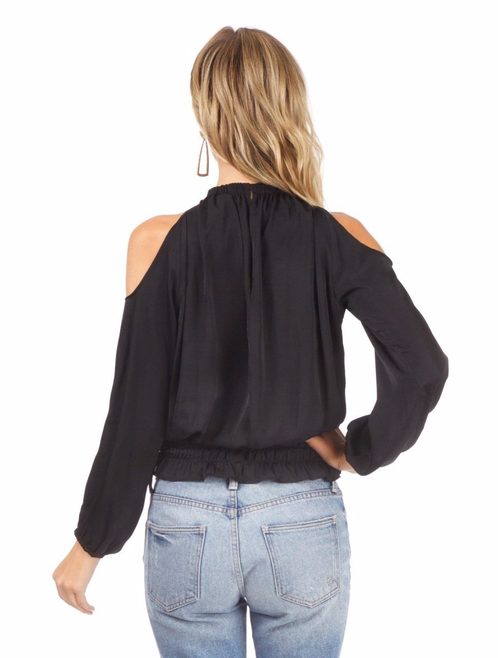 Women wearing a top rental from AQUA called Cold Shoulder Top