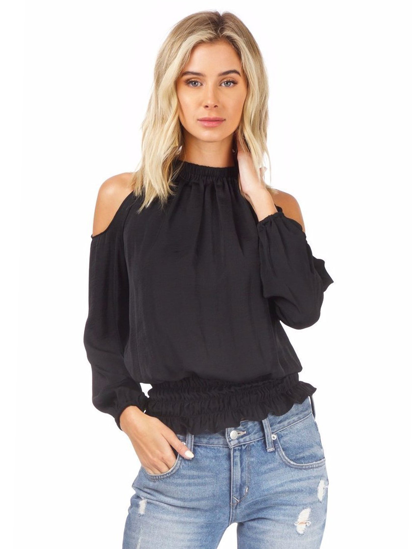 Girl outfit in a top rental from AQUA called Cold Shoulder Top