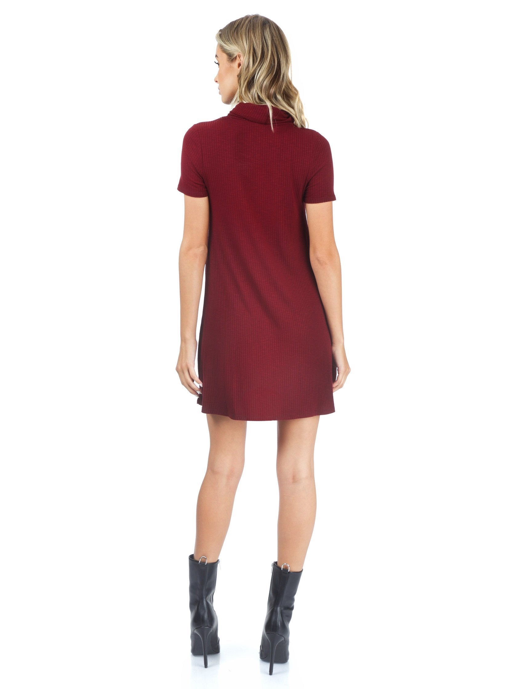 Women wearing a dress rental from AQUA called Ribbed Knit Neck Cowl Dress