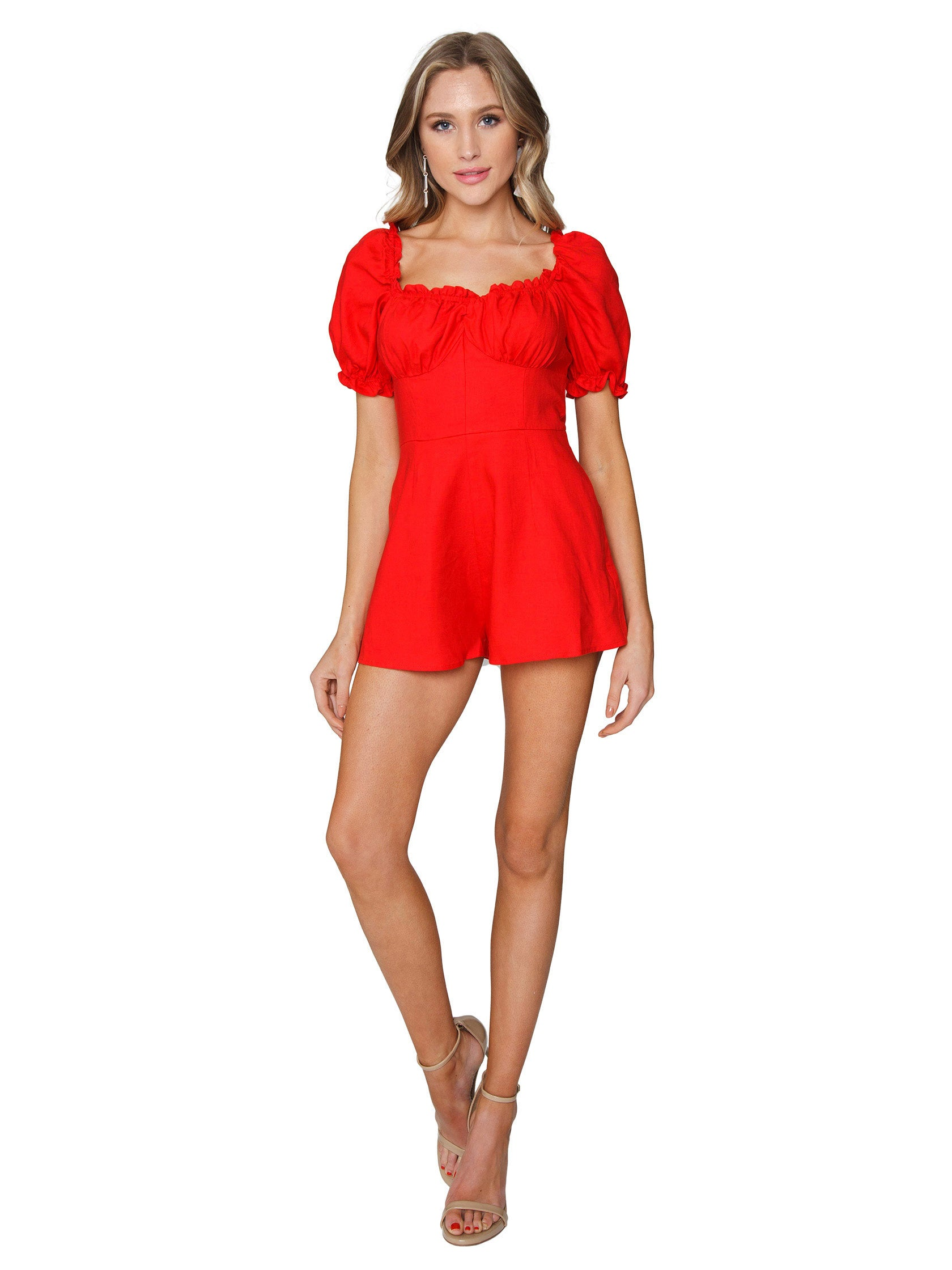 76f7c7e65693 Women outfit in a romper rental from Finders Keepers called Aranciata  Playsuit