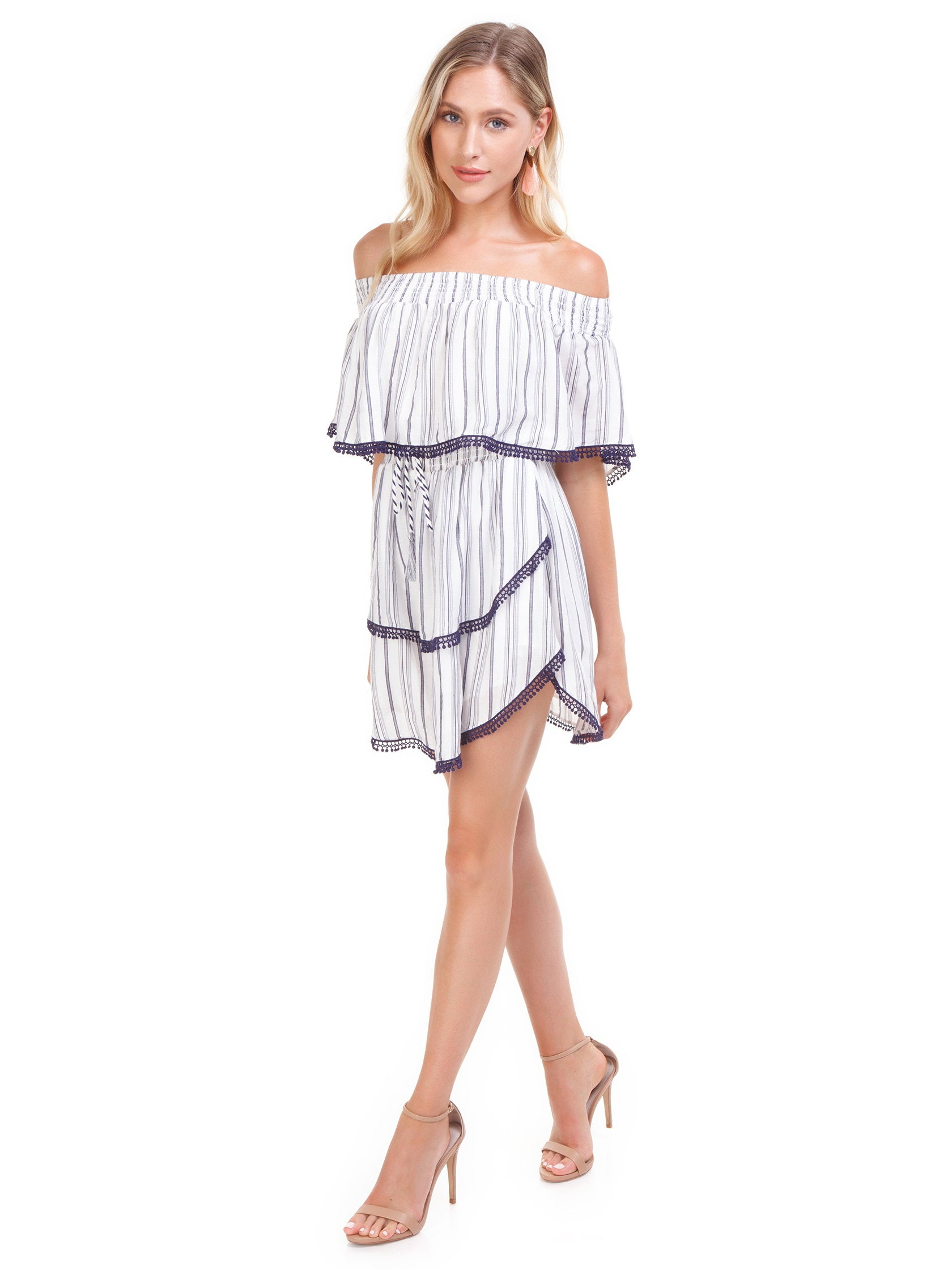 2e2a4173ed Girl wearing a dress rental from The Jetset Diaries called Aries Stripe Mini  Dress