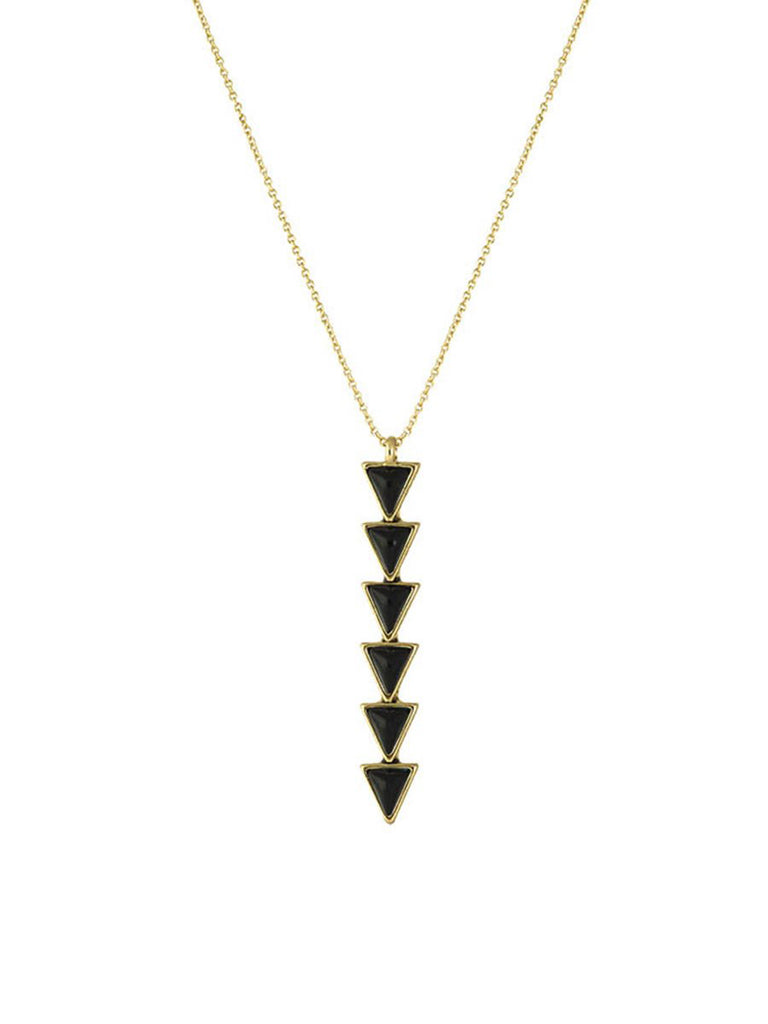Women outfit in a necklace rental from House of Harlow 1960 called Golden Pendant Necklace