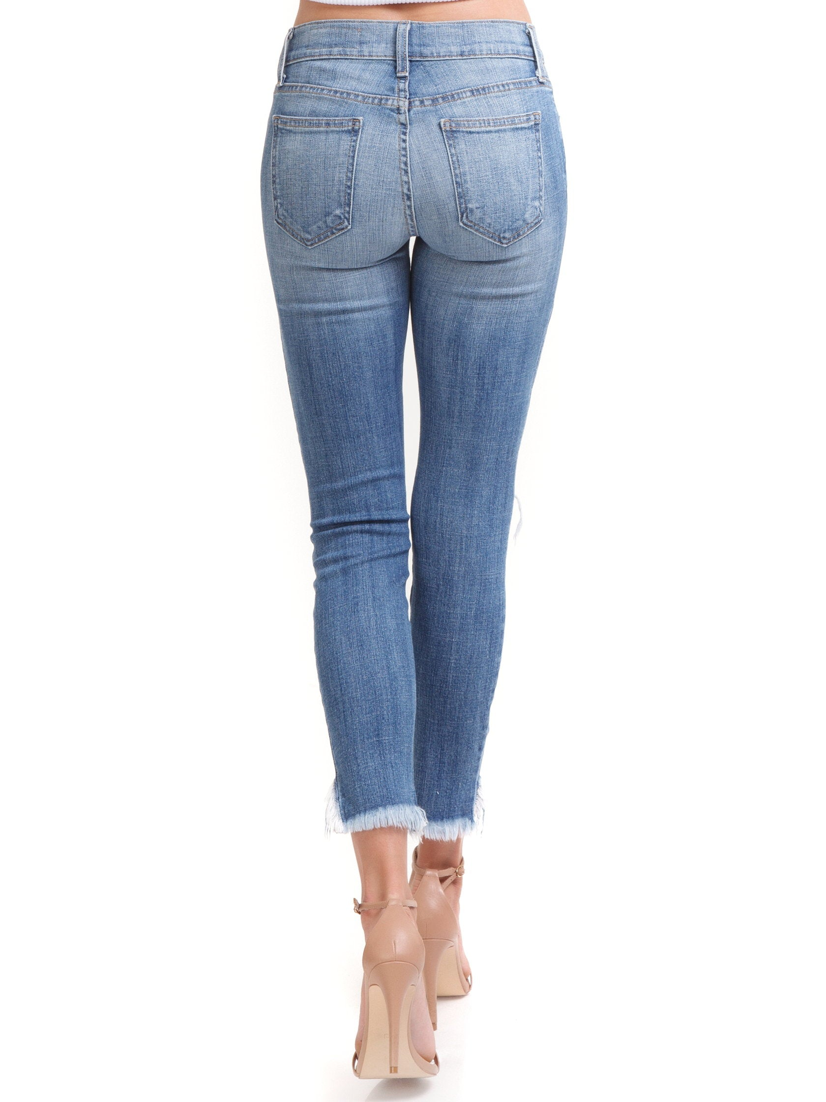 Women outfit in a denim rental from PISTOLA called Audrey Distressed Crop Jeans