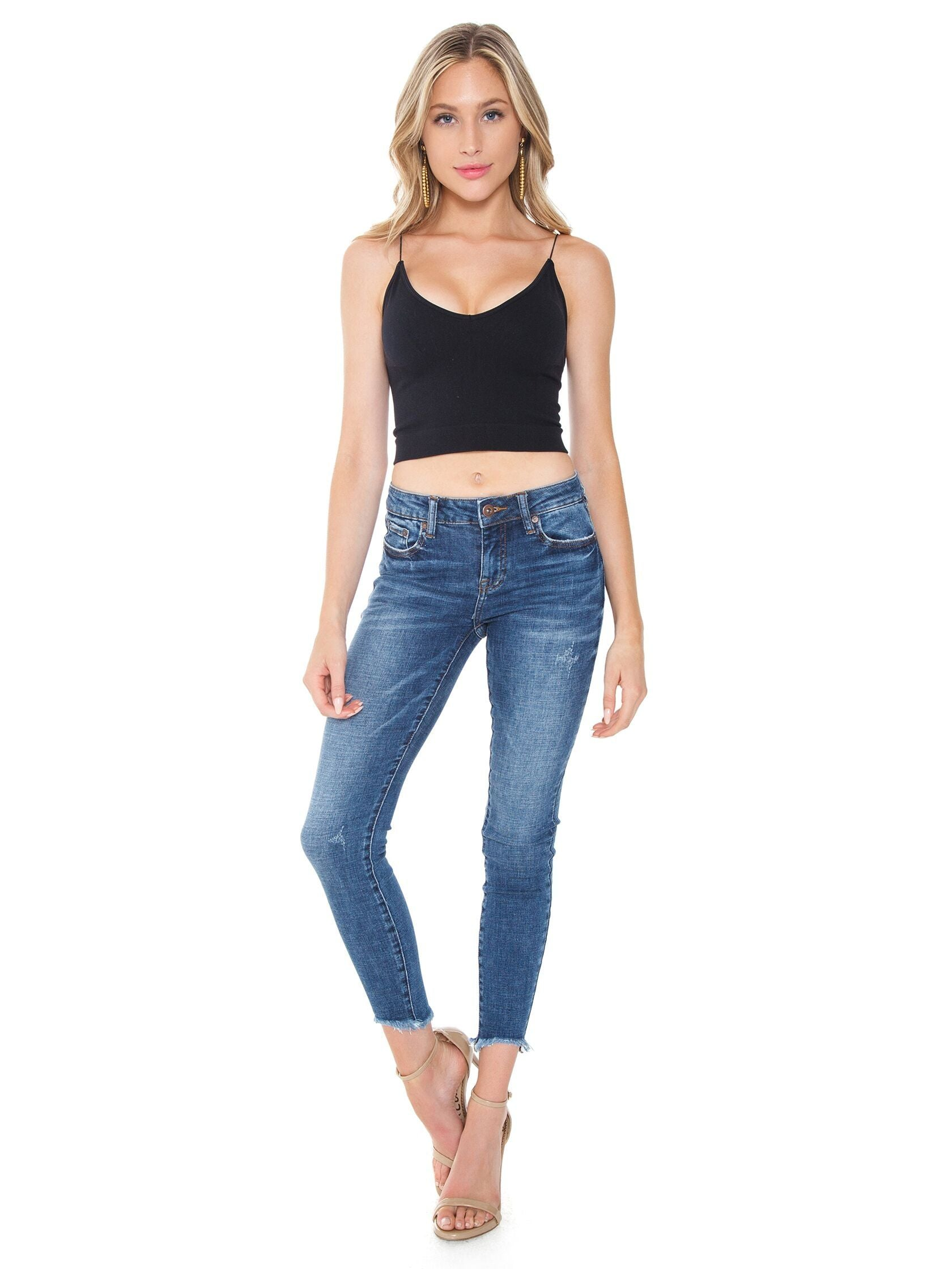 Girl wearing a denim rental from PISTOLA called Audrey Mid Rise Skinny