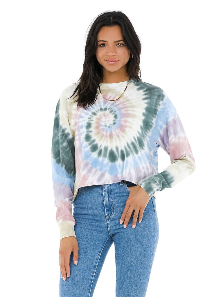 Woman wearing a top rental from DAYDREAMER called Grateful Dead Tie Dye Long Sleeve Crop