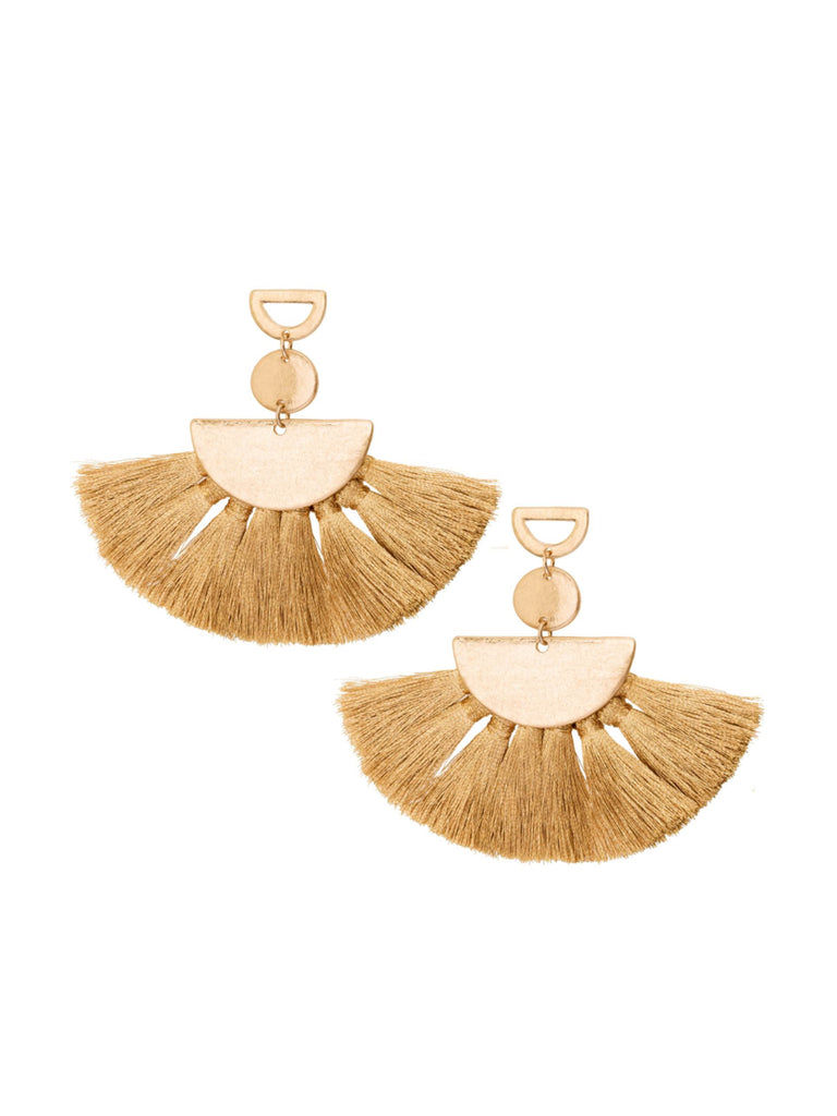 Women wearing a earrings rental from Shashi called Ava Tassel Earrings