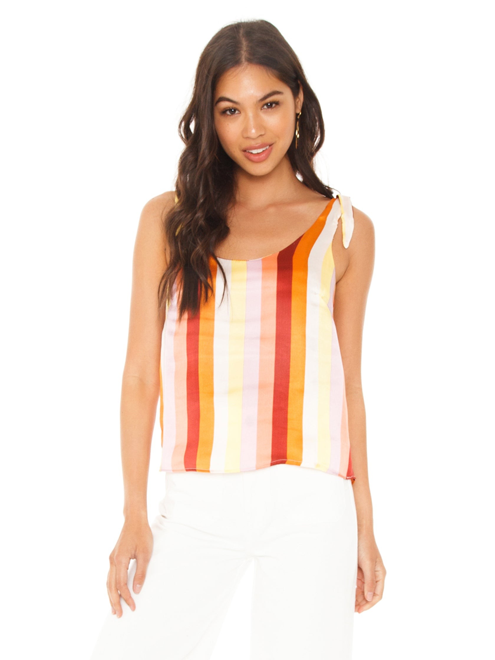 Woman wearing a top rental from FLETCH called Ayla Stripe Tank Top