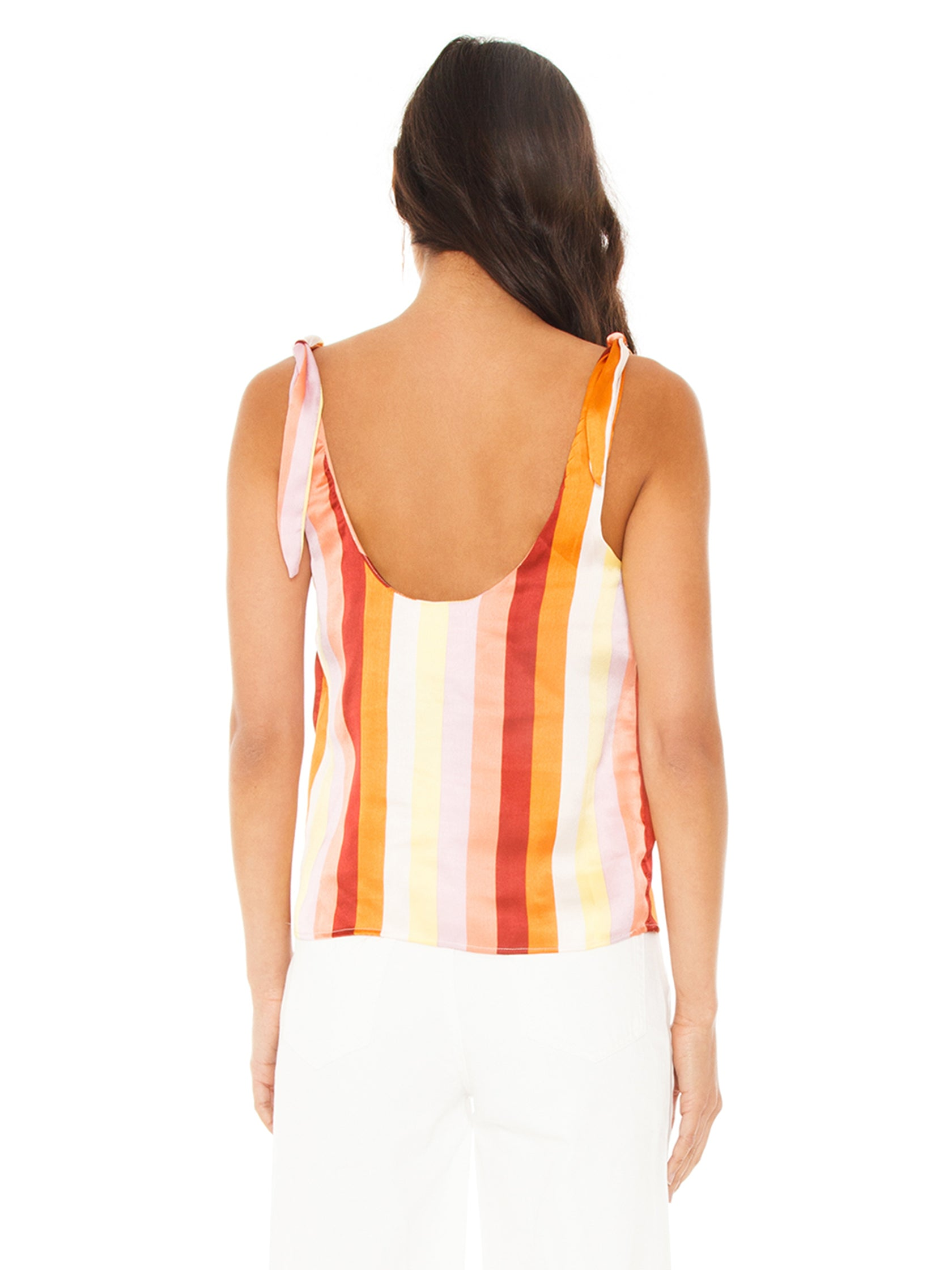 Women outfit in a top rental from FLETCH called Ayla Stripe Tank Top