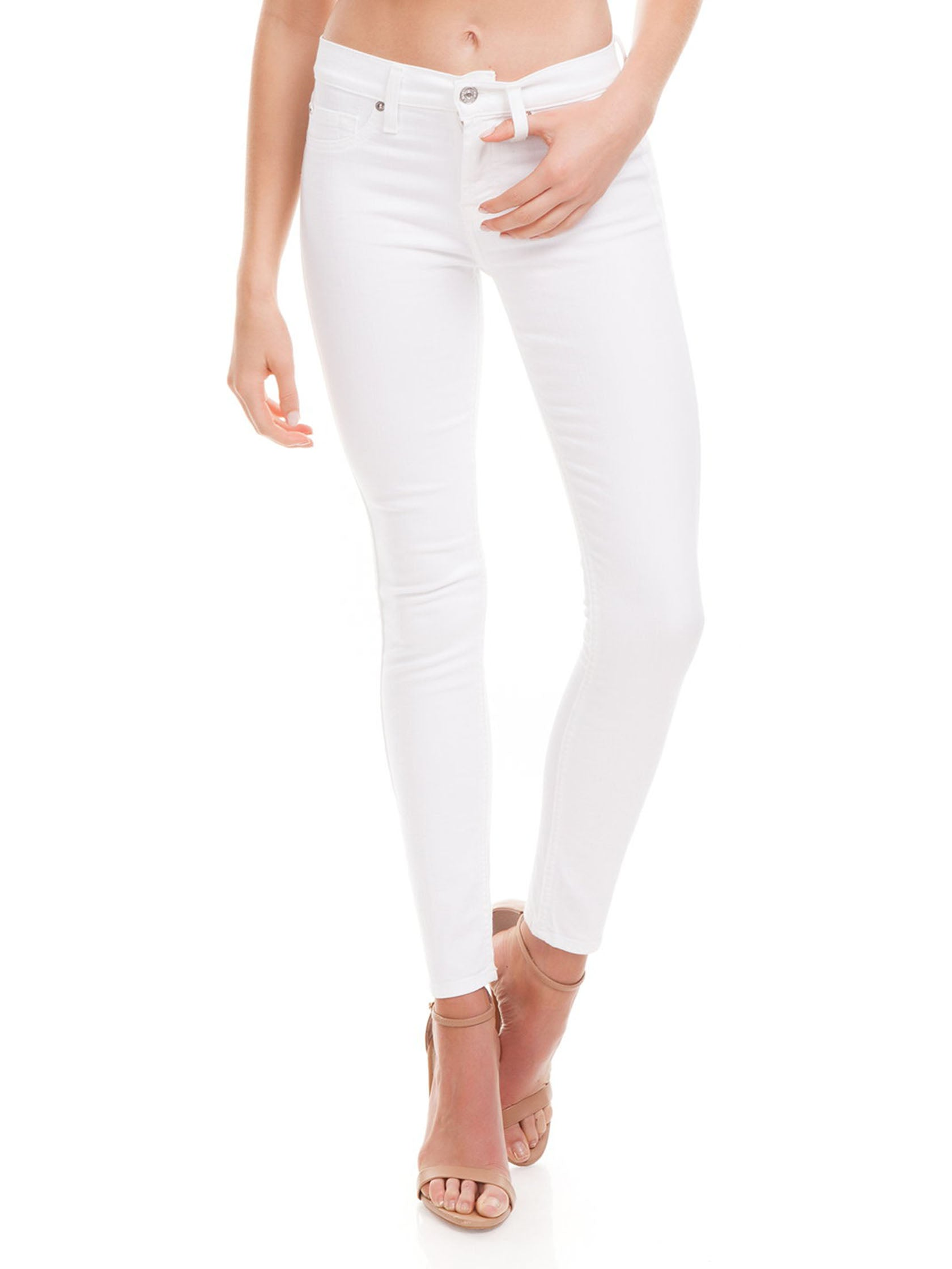 Woman wearing a denim rental from 7 For All Mankind called B(air) Skinny Ankle Jeans