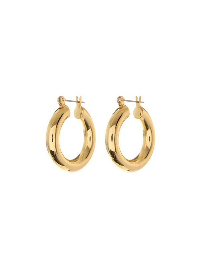 Women wearing a earrings rental from LUV AJ called Baby Amalfi Tube Hoops