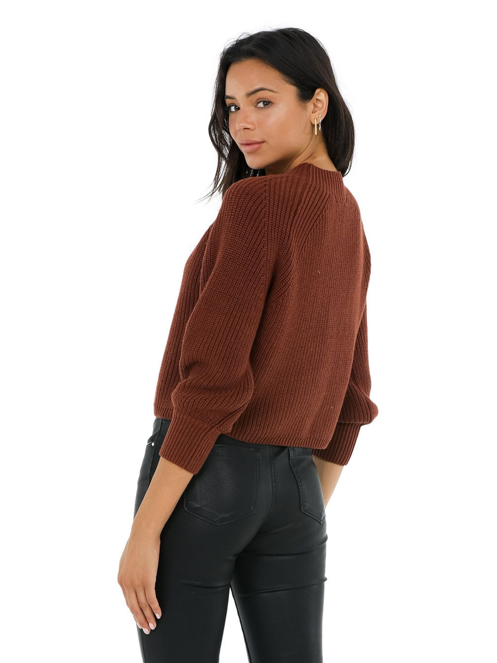 Women outfit in a sweater rental from 525 called Balloon Sleeve Cropped Sweater