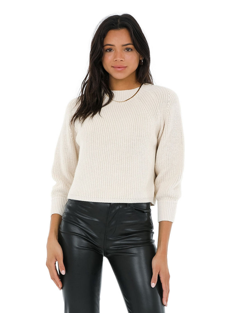Women wearing a sweater rental from 525 called Balloon Sleeve Cropped Sweater