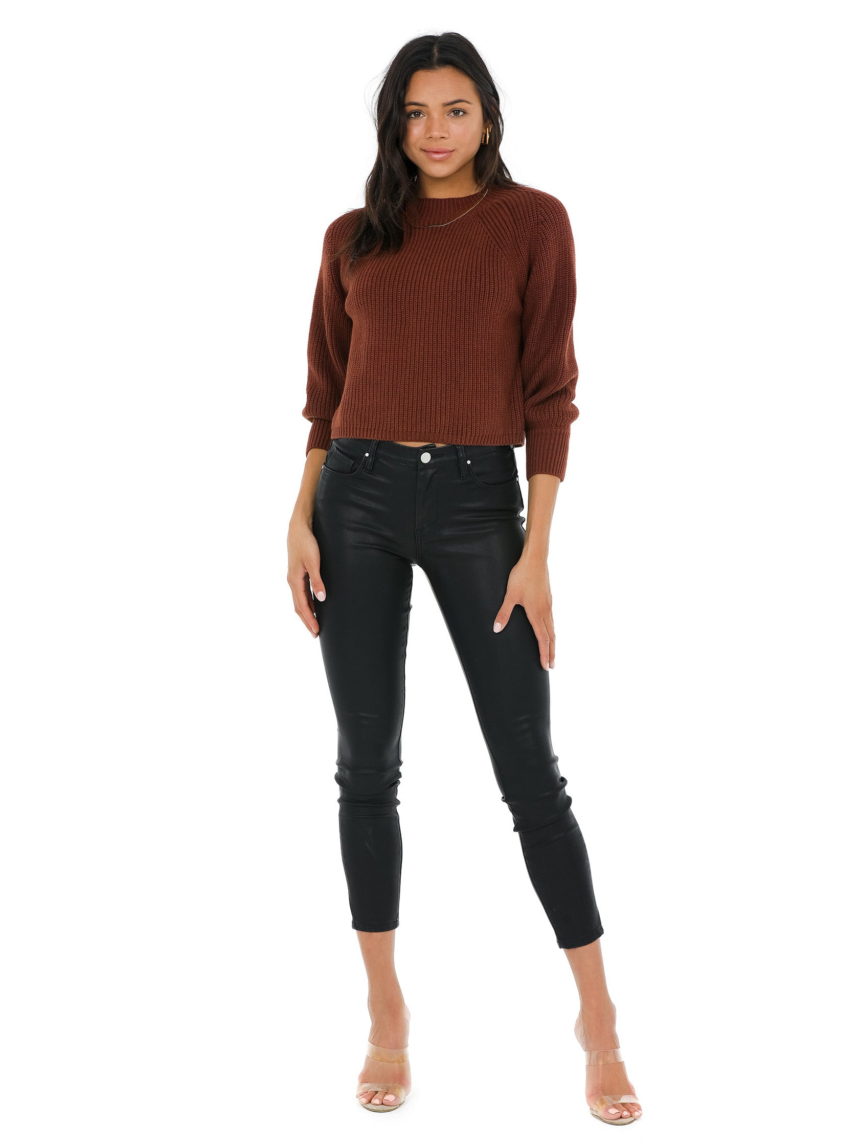 Girl wearing a sweater rental from 525 called Balloon Sleeve Cropped Sweater