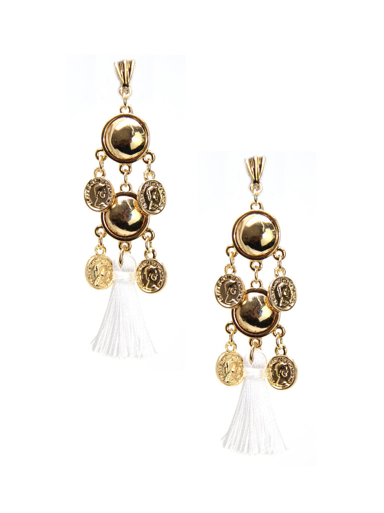 Women wearing a earrings rental from Ettika called Battlefield Earrings