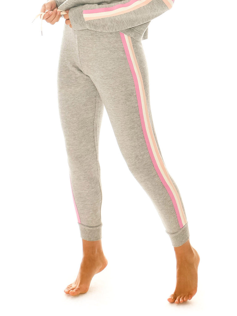 Women wearing a pants rental from Splendid called Bayside Active Racer Stripe Jogger