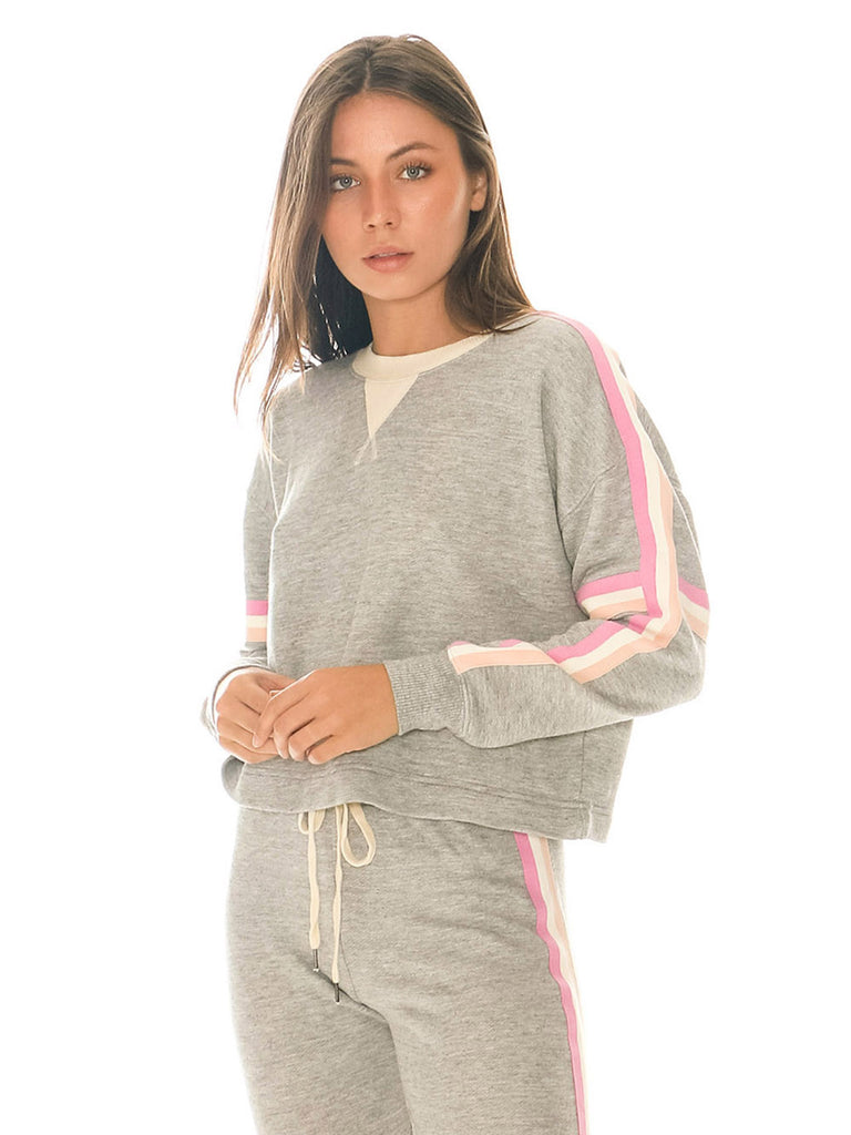 Women wearing a sweater rental from Splendid called Bayside Active Racer Stripe Pullover