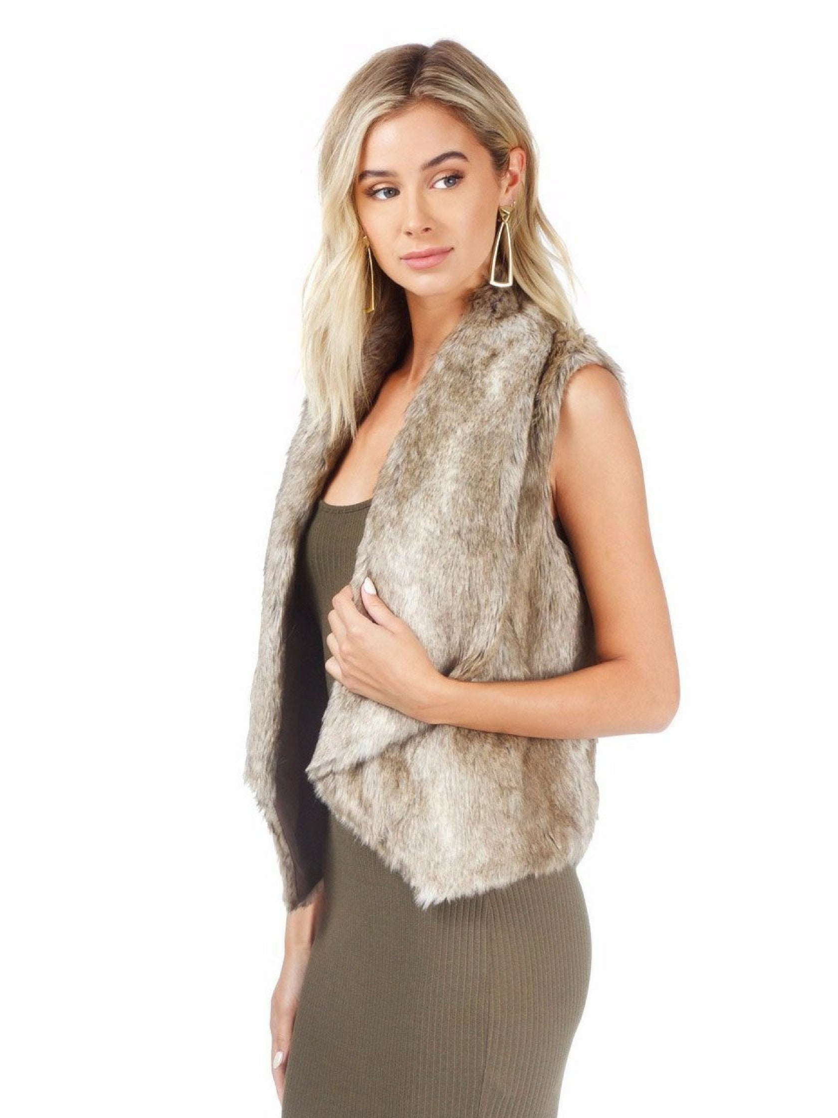 Women wearing a vest rental from BB Dakota called Jack By Bb Dakota Faux Fur Dwight Vest