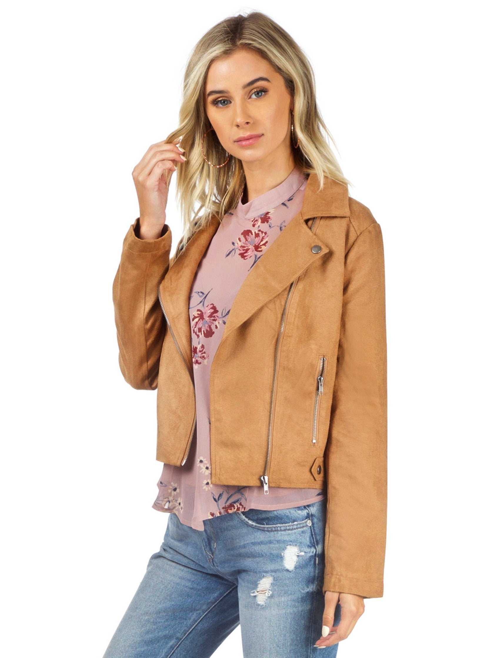 Women wearing a jacket rental from BB Dakota called Jack By Bb Dakota Johanness Woven Faux Suede Jacket