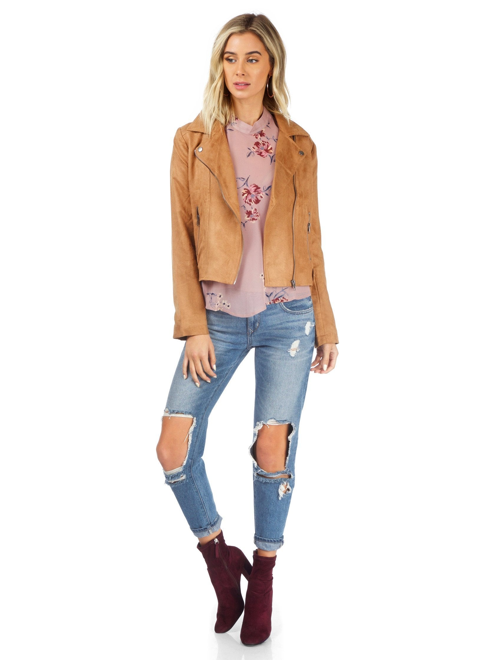 Girl wearing a jacket rental from BB Dakota called Jack By Bb Dakota Johanness Woven Faux Suede Jacket