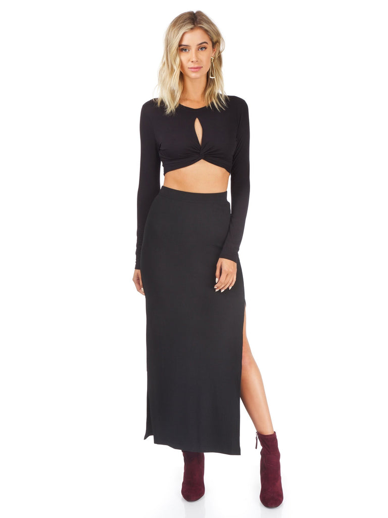 Woman wearing a skirt rental from BB Dakota called Laurel Canyon Drawstring Top