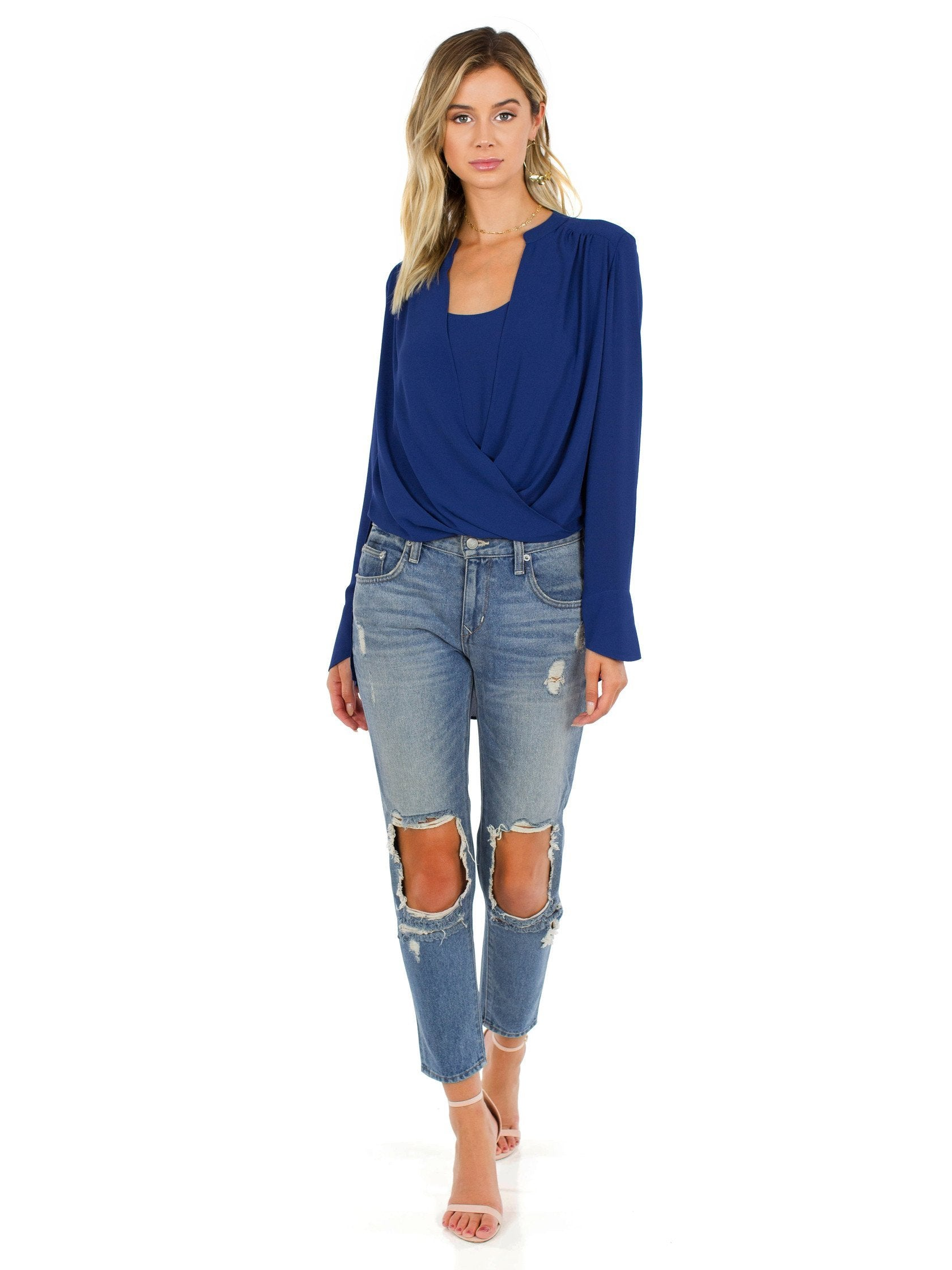 Girl wearing a top rental from BCBGMAXAZRIA called Jaklyn Draped-front Blouse