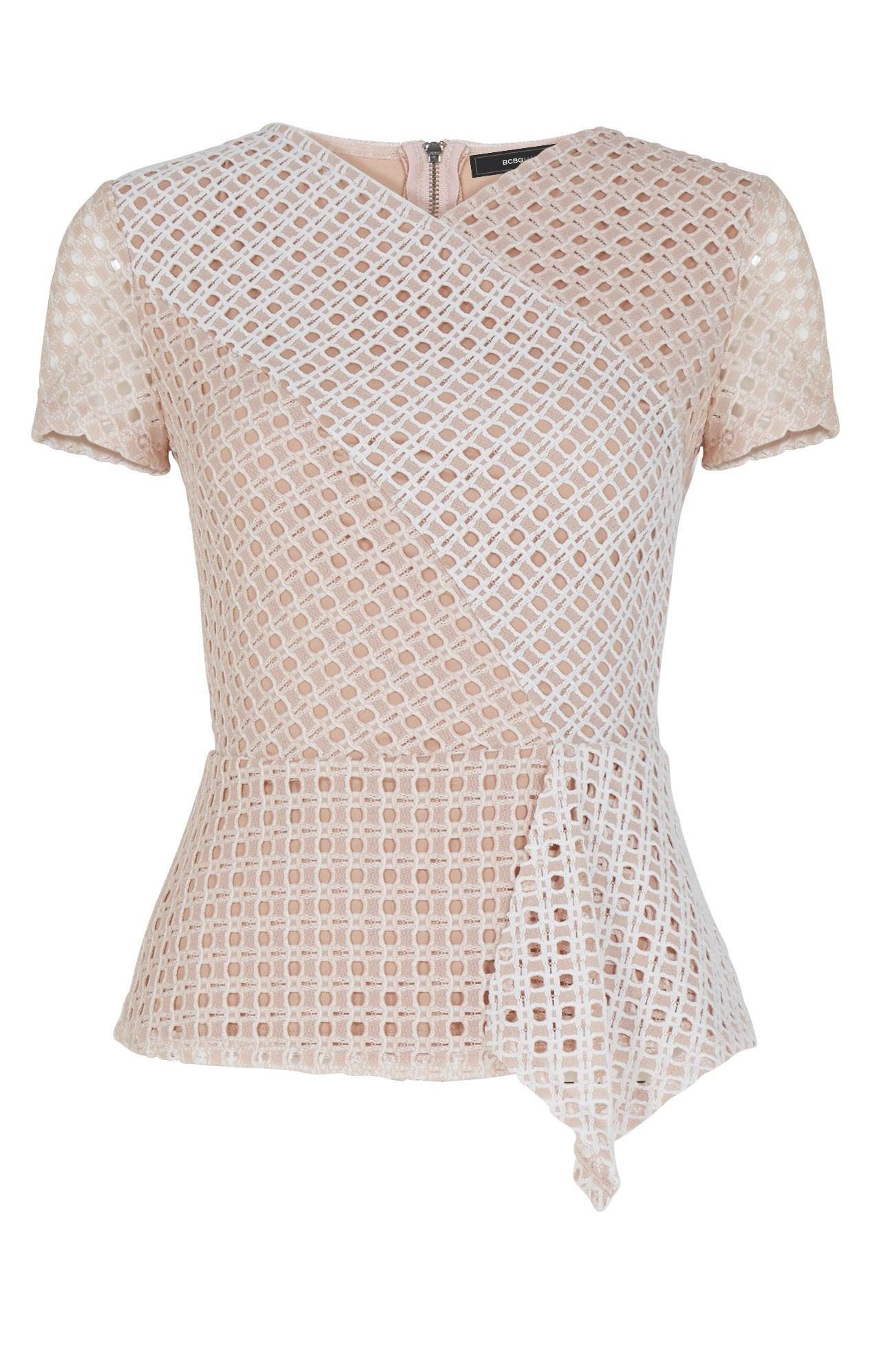 Woman wearing a top rental from BCBGMAXAZRIA called Kaleigh Lace-blocked Peplum Top