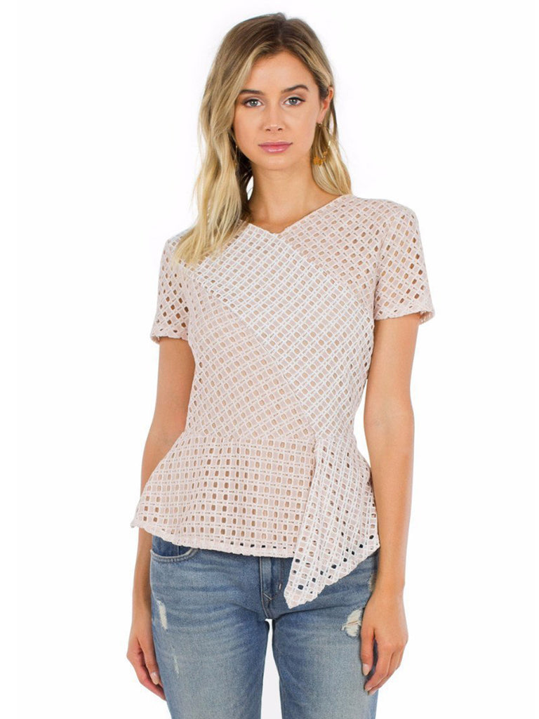 Women wearing a top rental from BCBGMAXAZRIA called Kaleigh Lace-blocked Peplum Top