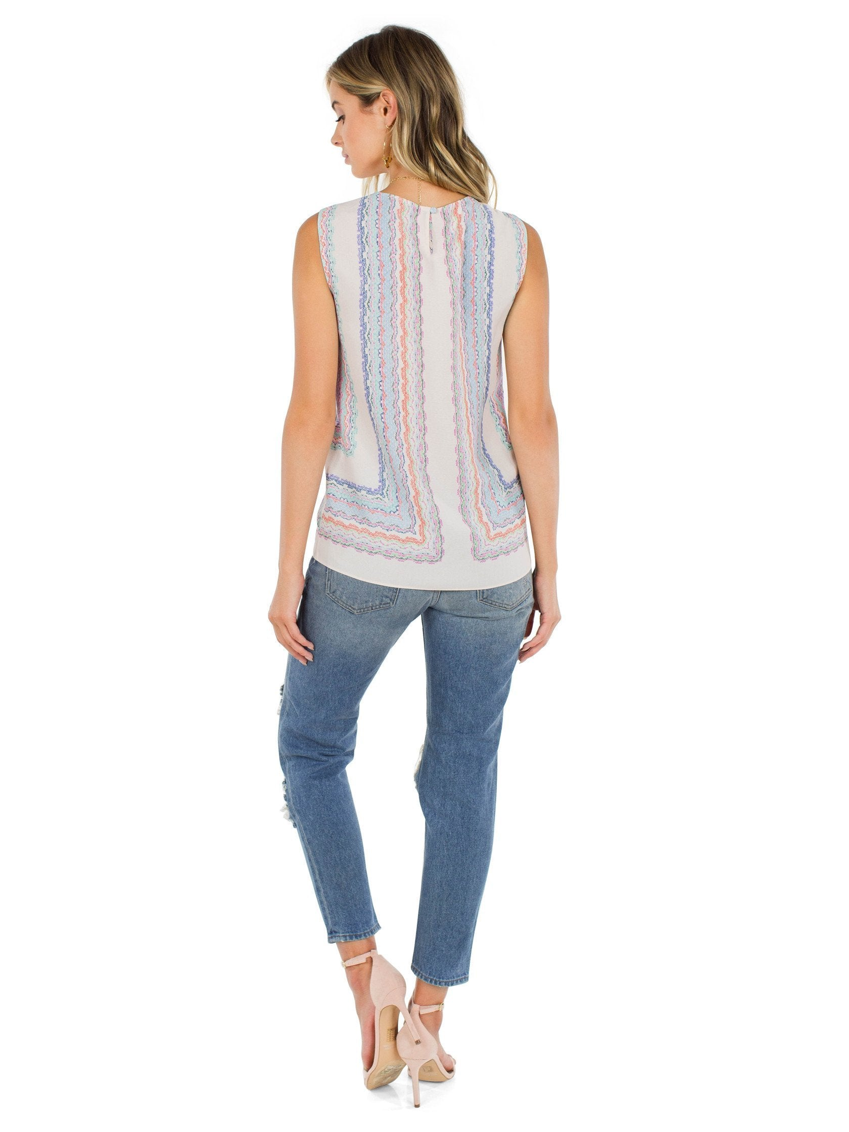 Women outfit in a top rental from BCBGMAXAZRIA called Maryssa Wrap Tank