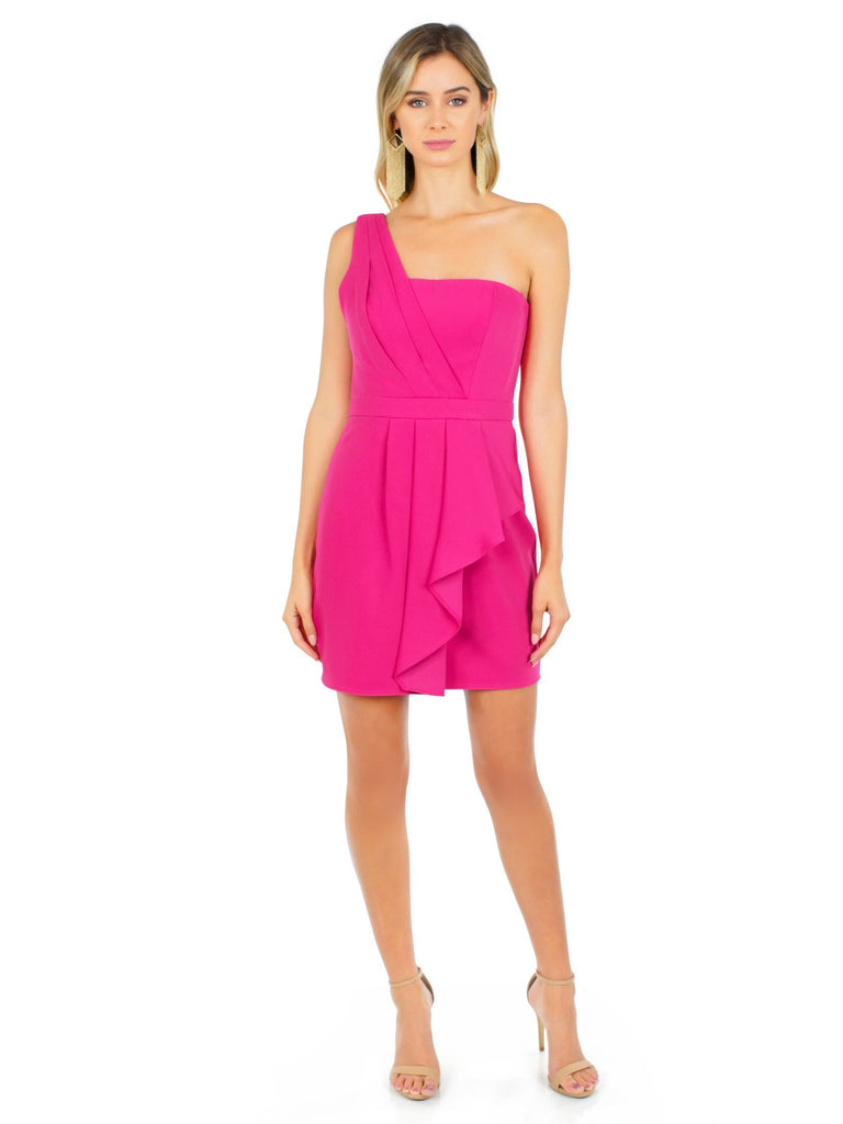 Women wearing a dress rental from BCBGMAXAZRIA called Vanessa One-shoulder Cascade Ruffle Dress