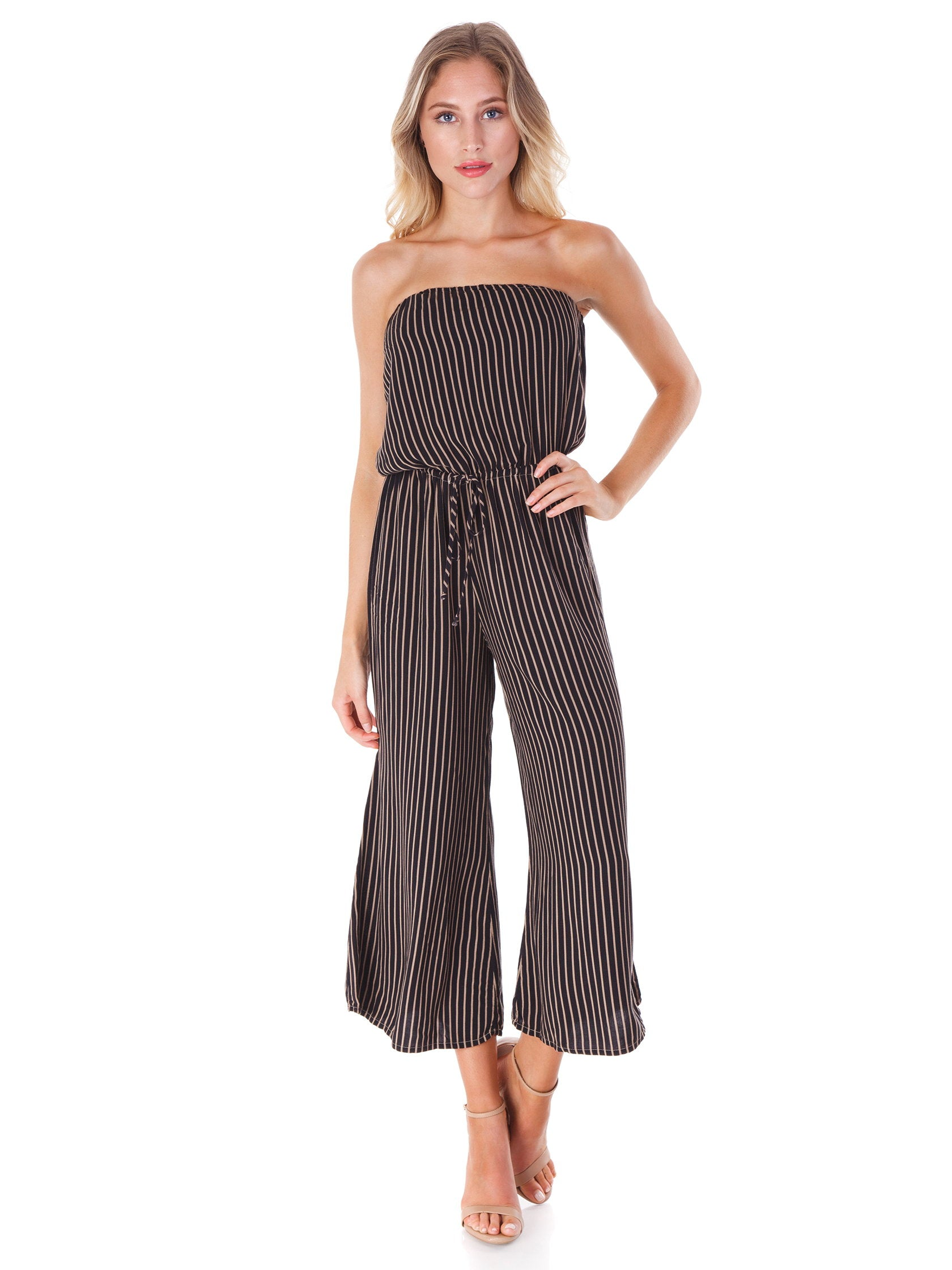 Girl outfit in a jumpsuit rental from Blue Life called Stripe Bell Jumper