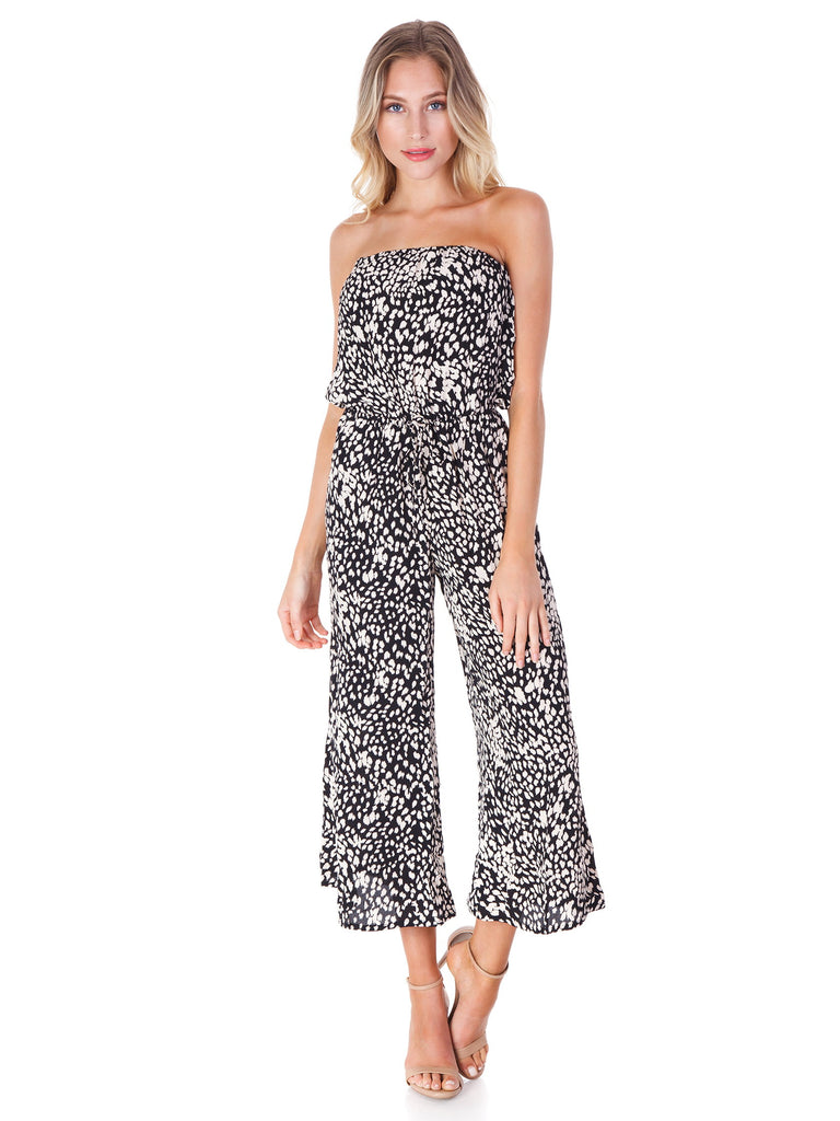 Women outfit in a jumpsuit rental from Blue Life called Scrunched Up Off Shoulder Bikini Top
