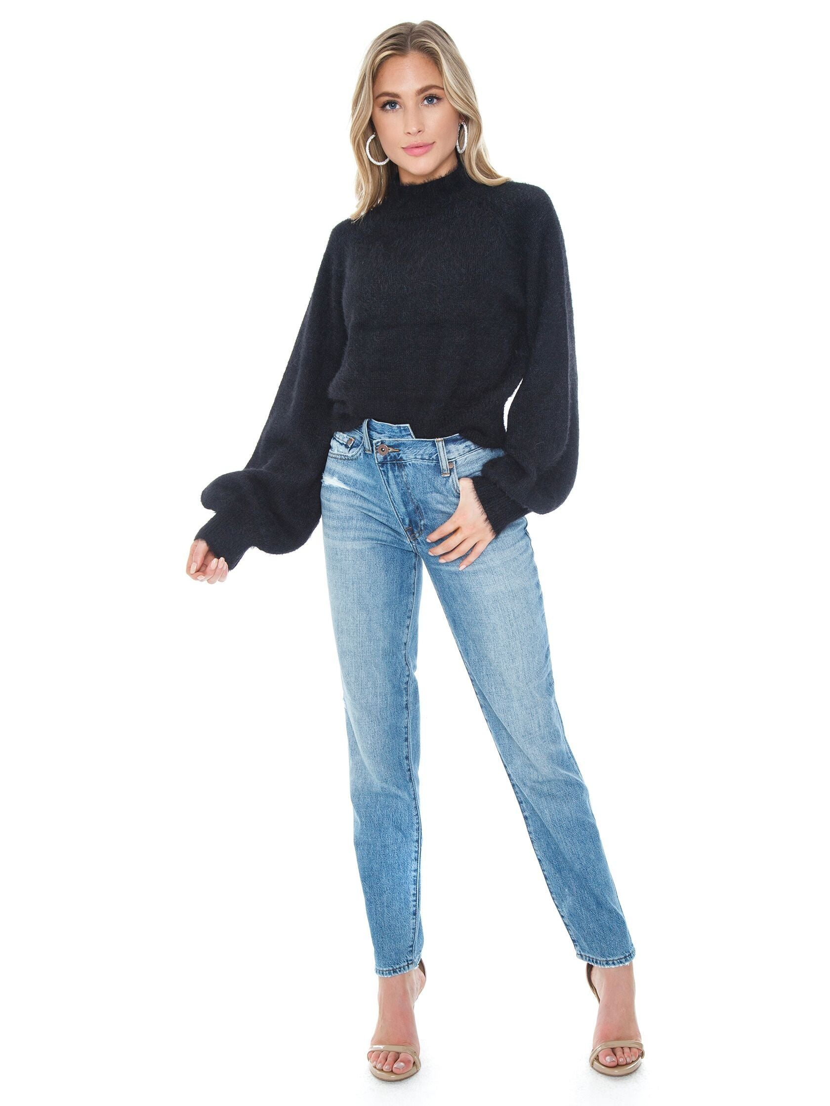 Girl wearing a sweater rental from BARDOT called Bell Sleeve Fluffy Knit