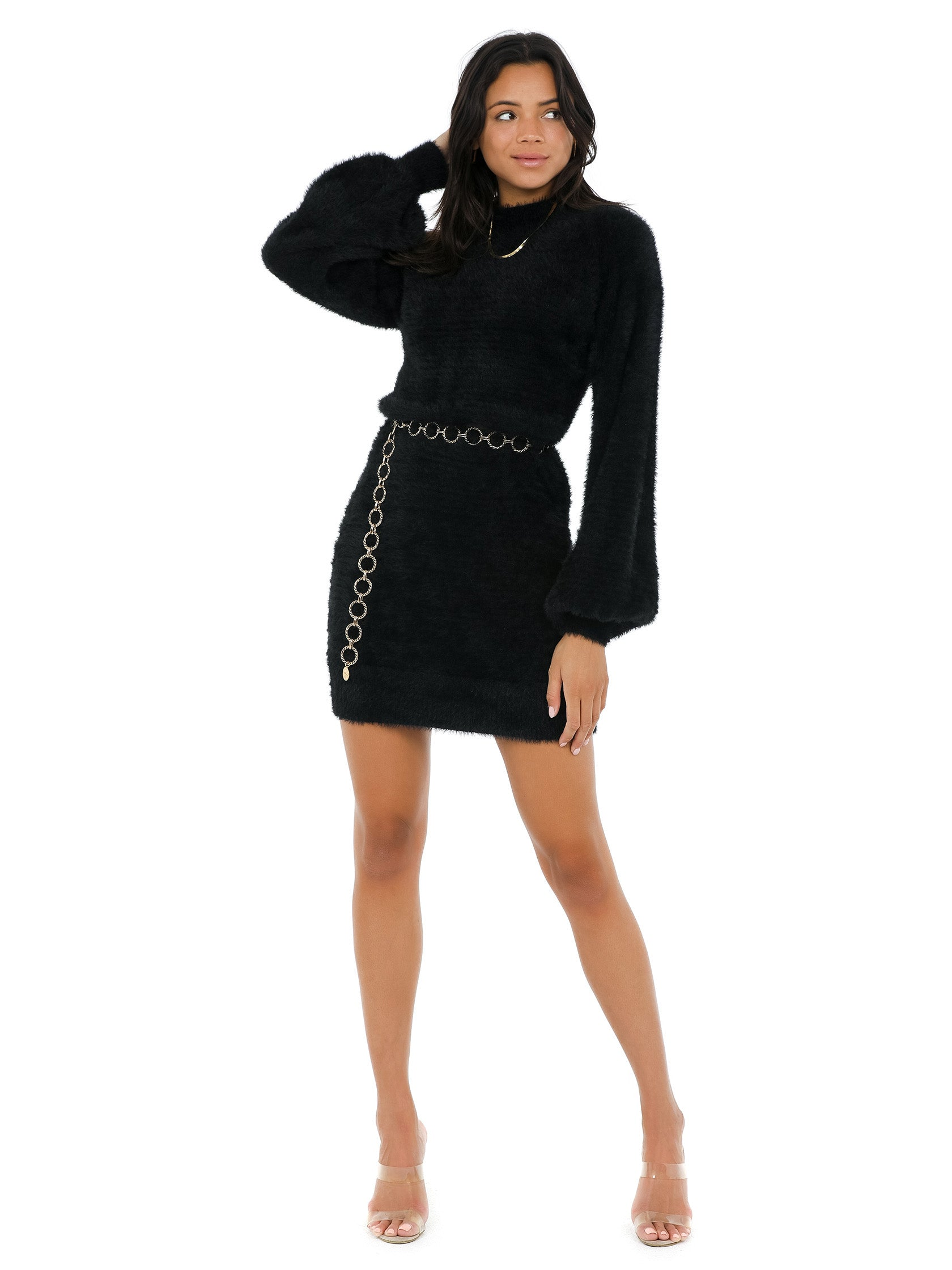 Girl outfit in a dress rental from BARDOT called Bell Sleeve Knit Dress