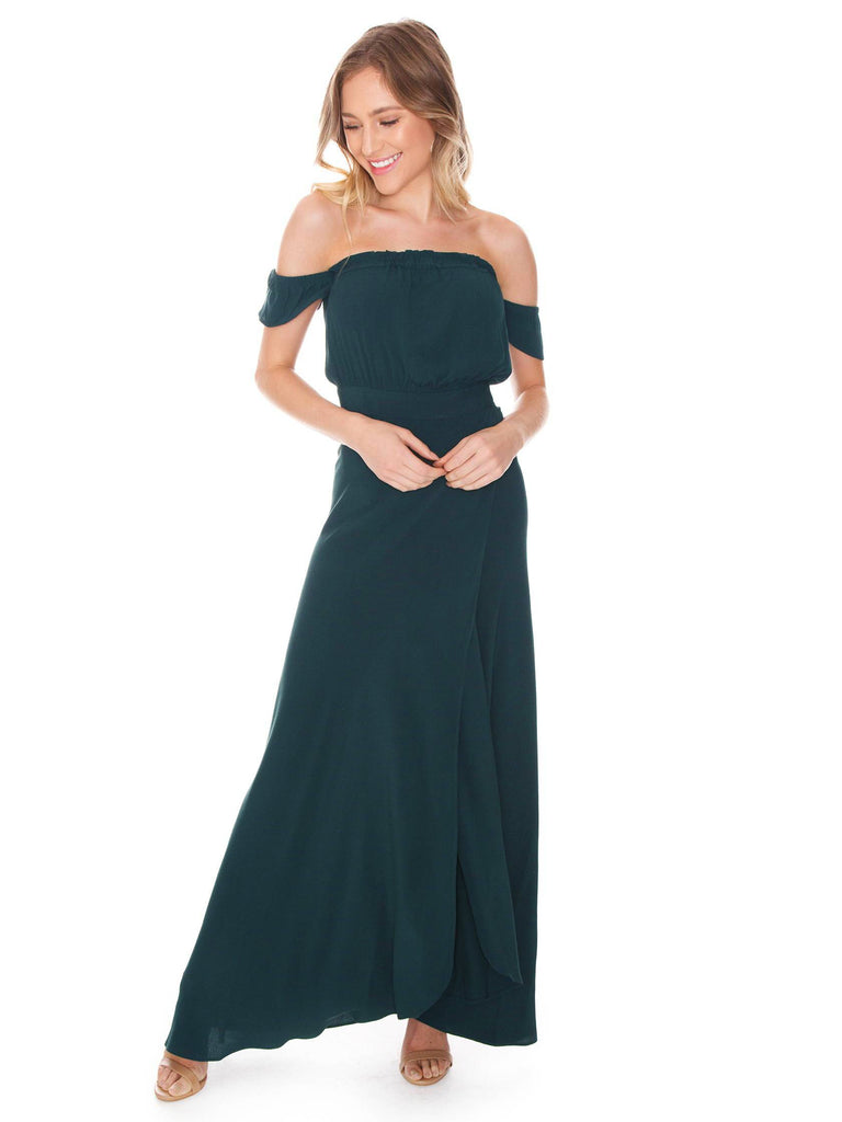 Woman wearing a dress rental from Flynn Skye called Georgina Crepe One-shoulder Gown