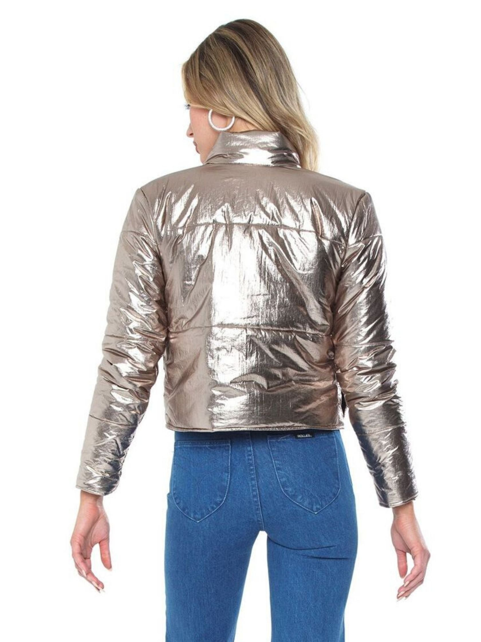Women outfit in a jacket rental from DAVID LERNER called Bella Metallic Crop Puffer