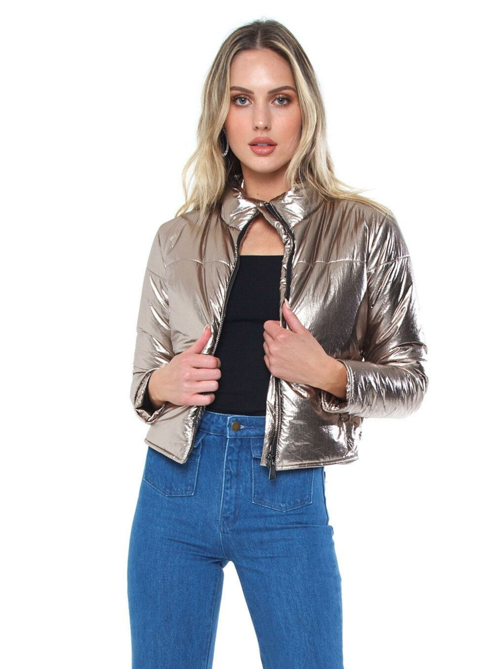 Woman wearing a jacket rental from DAVID LERNER called Bella Metallic Crop Puffer