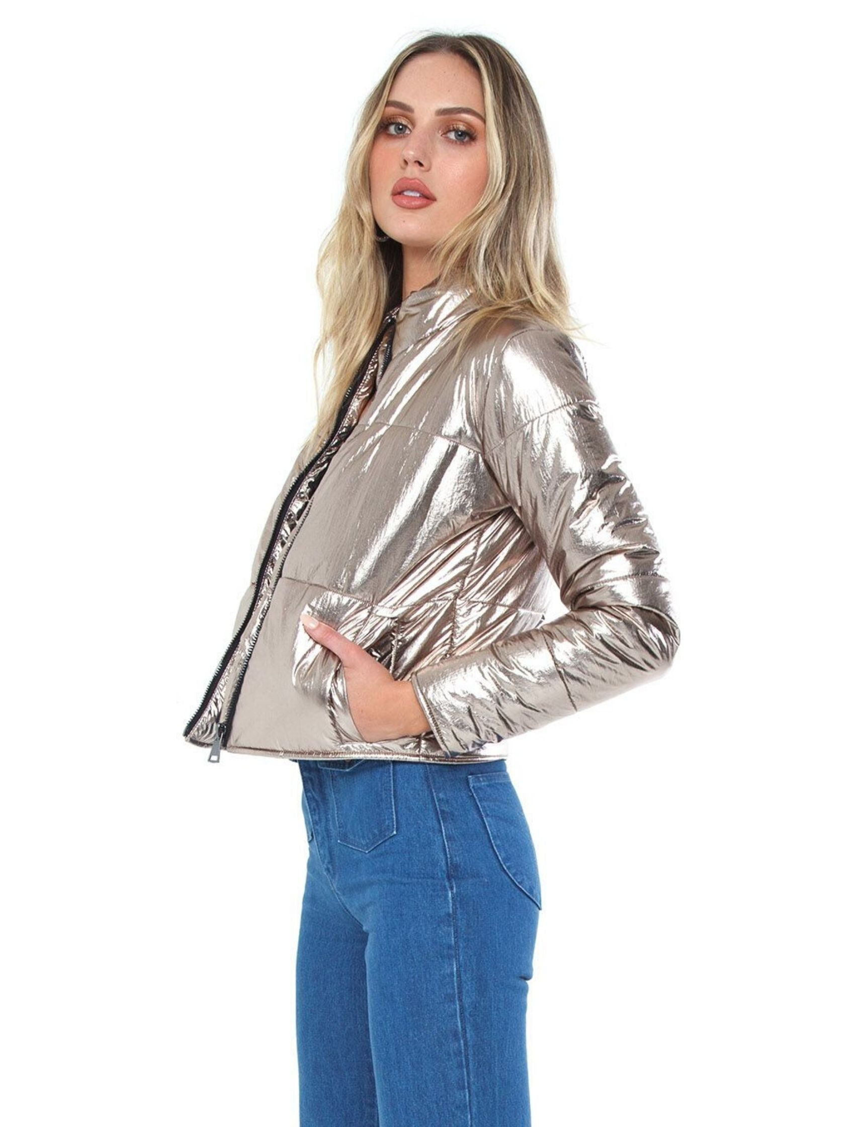 Women wearing a jacket rental from DAVID LERNER called Bella Metallic Crop Puffer