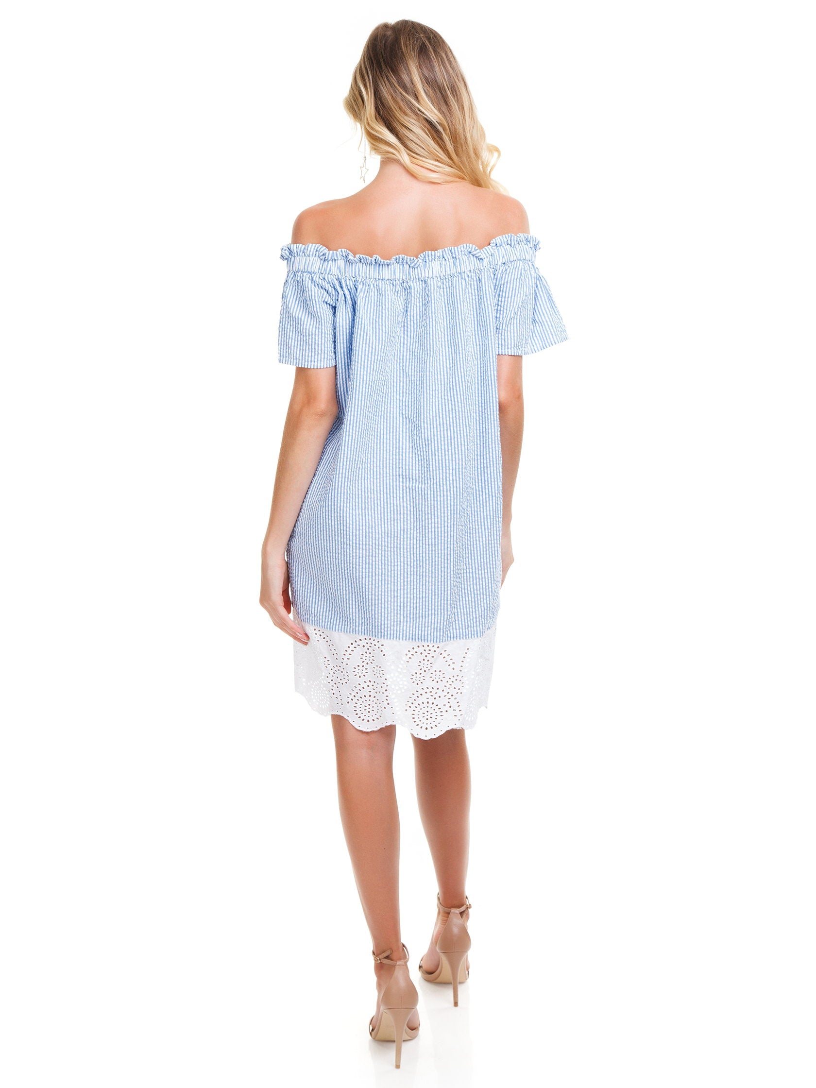 Women wearing a dress rental from French Connection called Belle Off-the-shoulder Dress