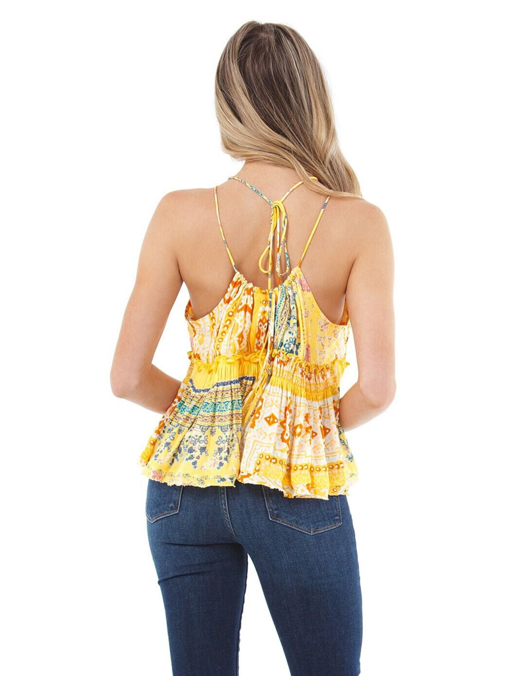Women outfit in a cami rental from Free People called Bellini Patchwork Tank