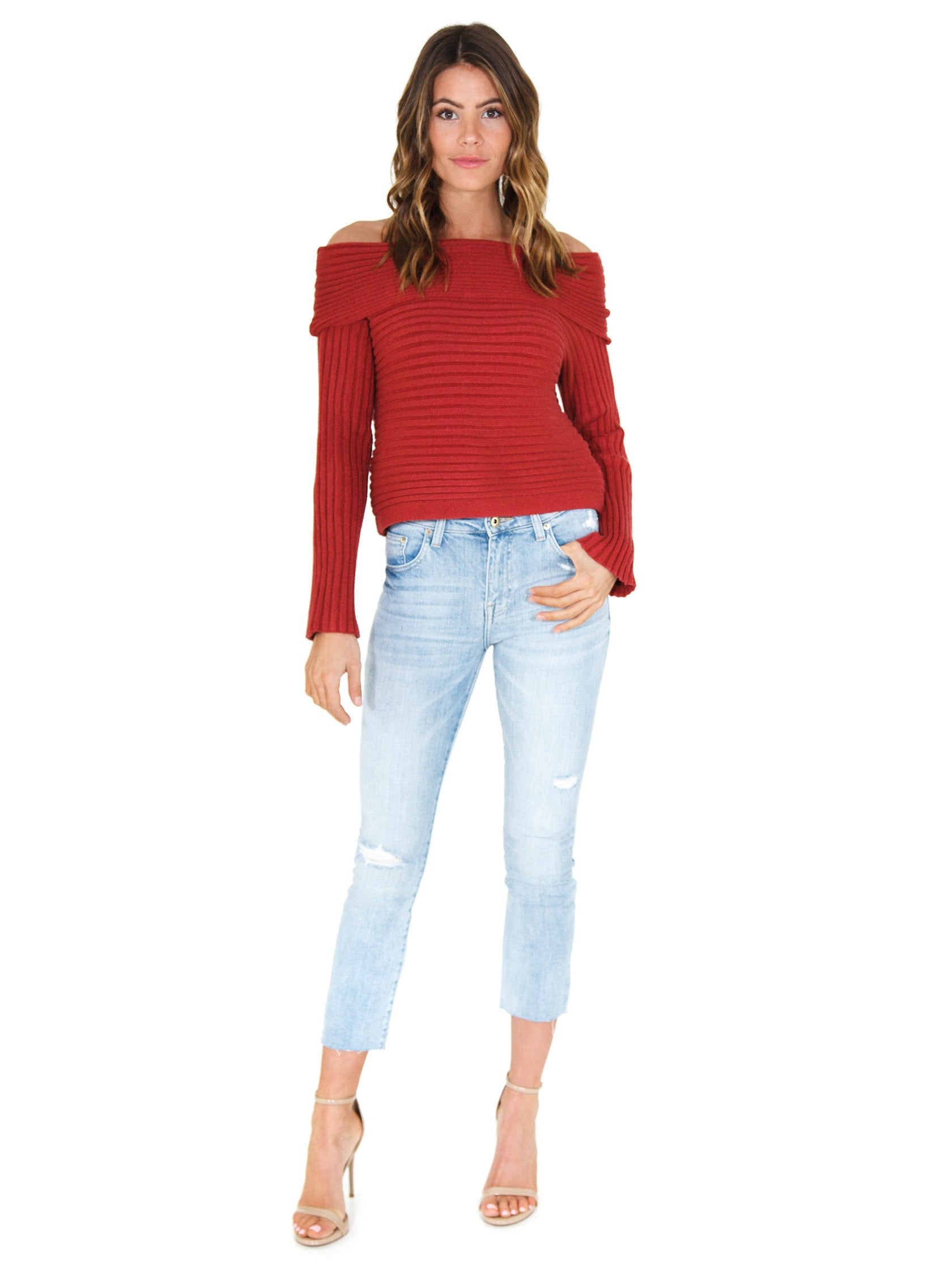 Girl wearing a sweater rental from Line & Dot called Benigna Off Shoulder Sweater